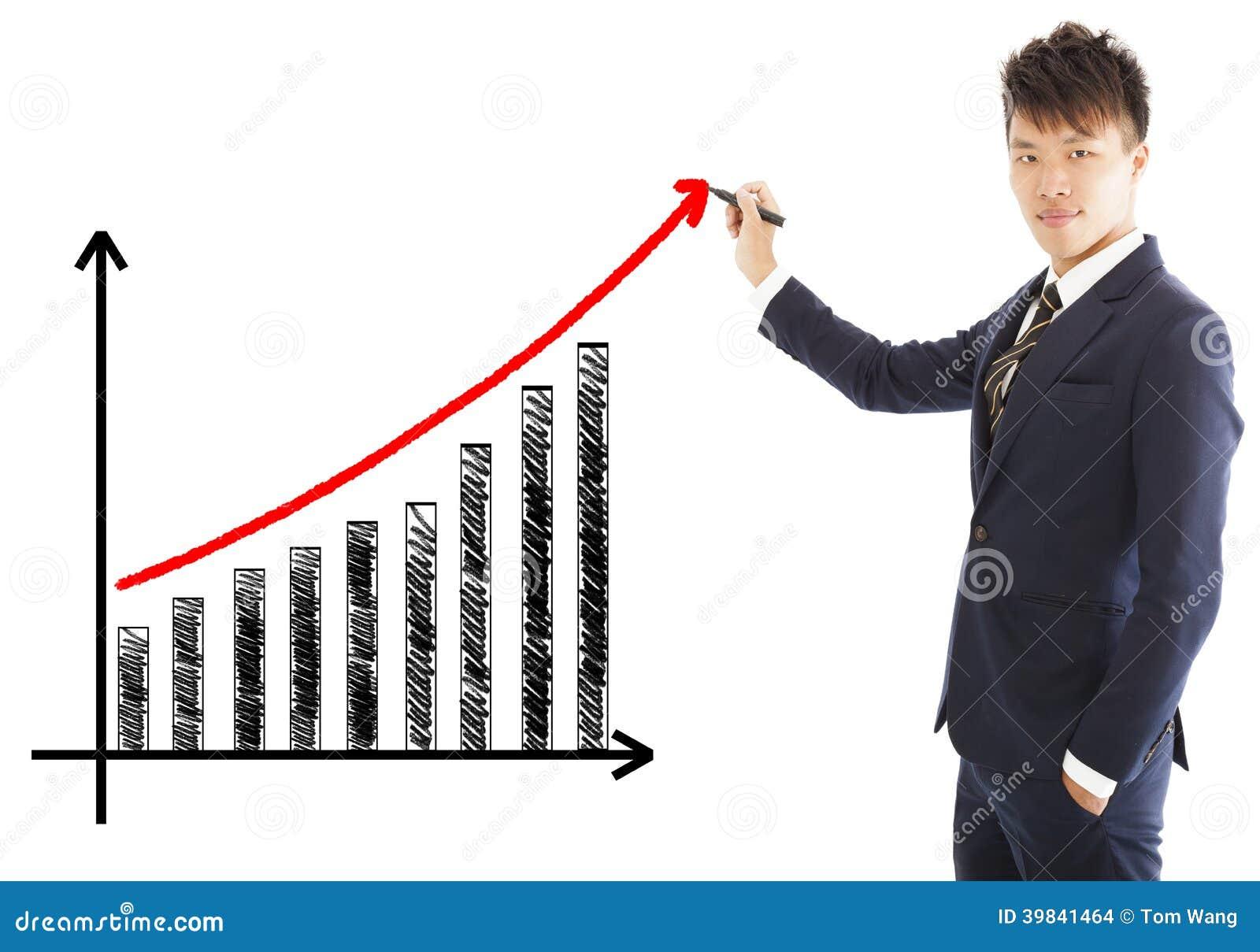 Tiraggio dell uomo d affari un grafico di crescita di vendita
