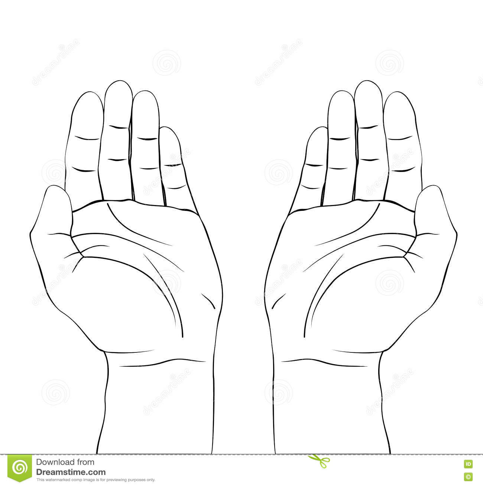 Tiraggio della preghiera aperta delle mani