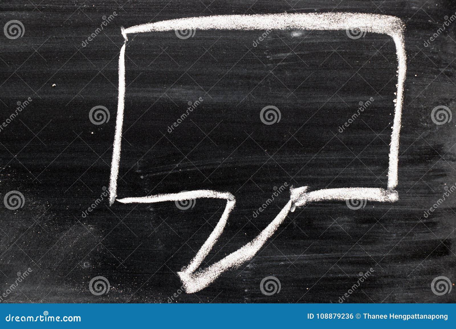 Tiraggio quadrato in bianco di discorso della bolla del fumetto da gesso sul bordo nero