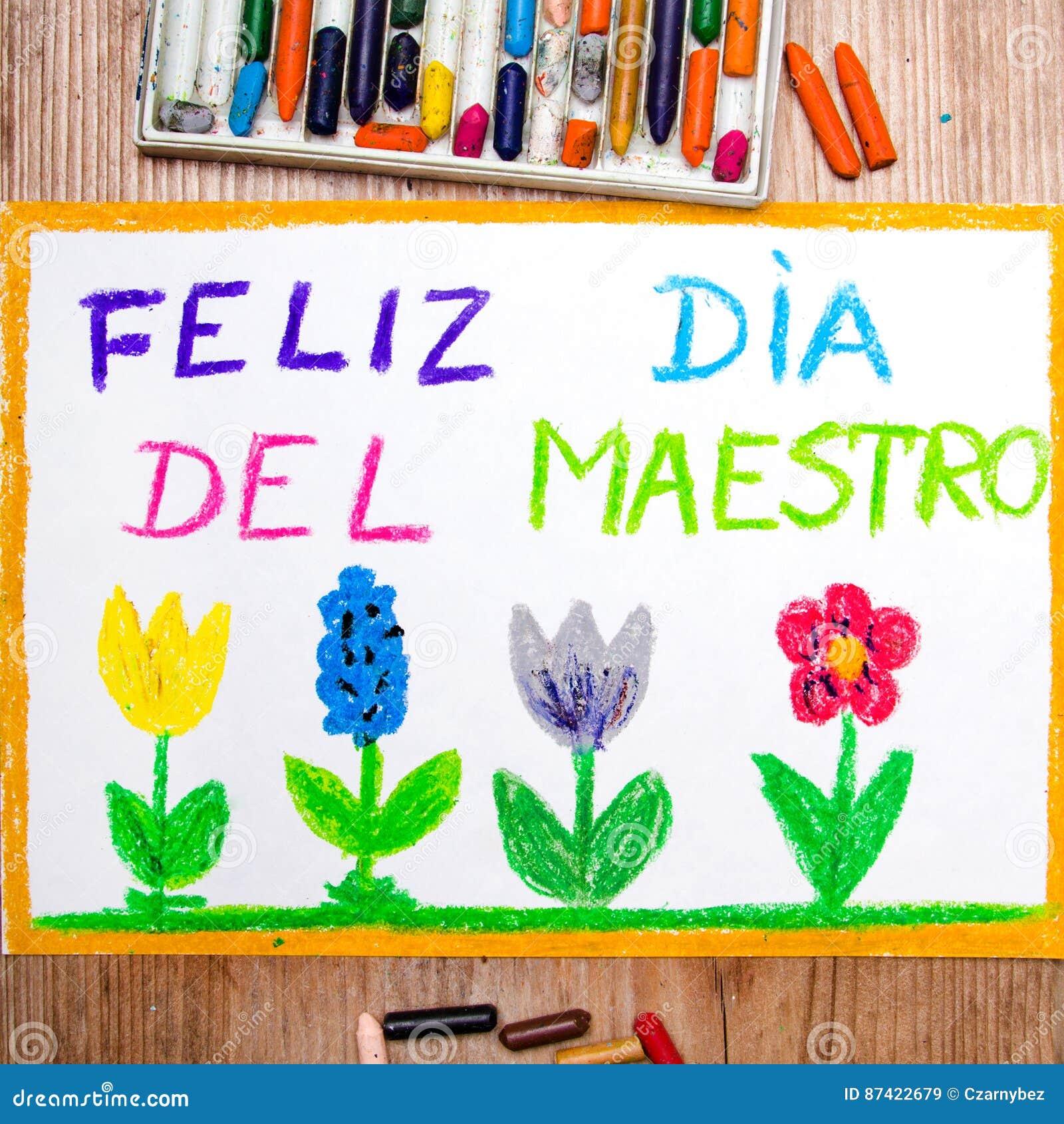 Tirar - cartão espanhol do dia do ` s do professor com ` de DÃa del maestro do ` das palavras