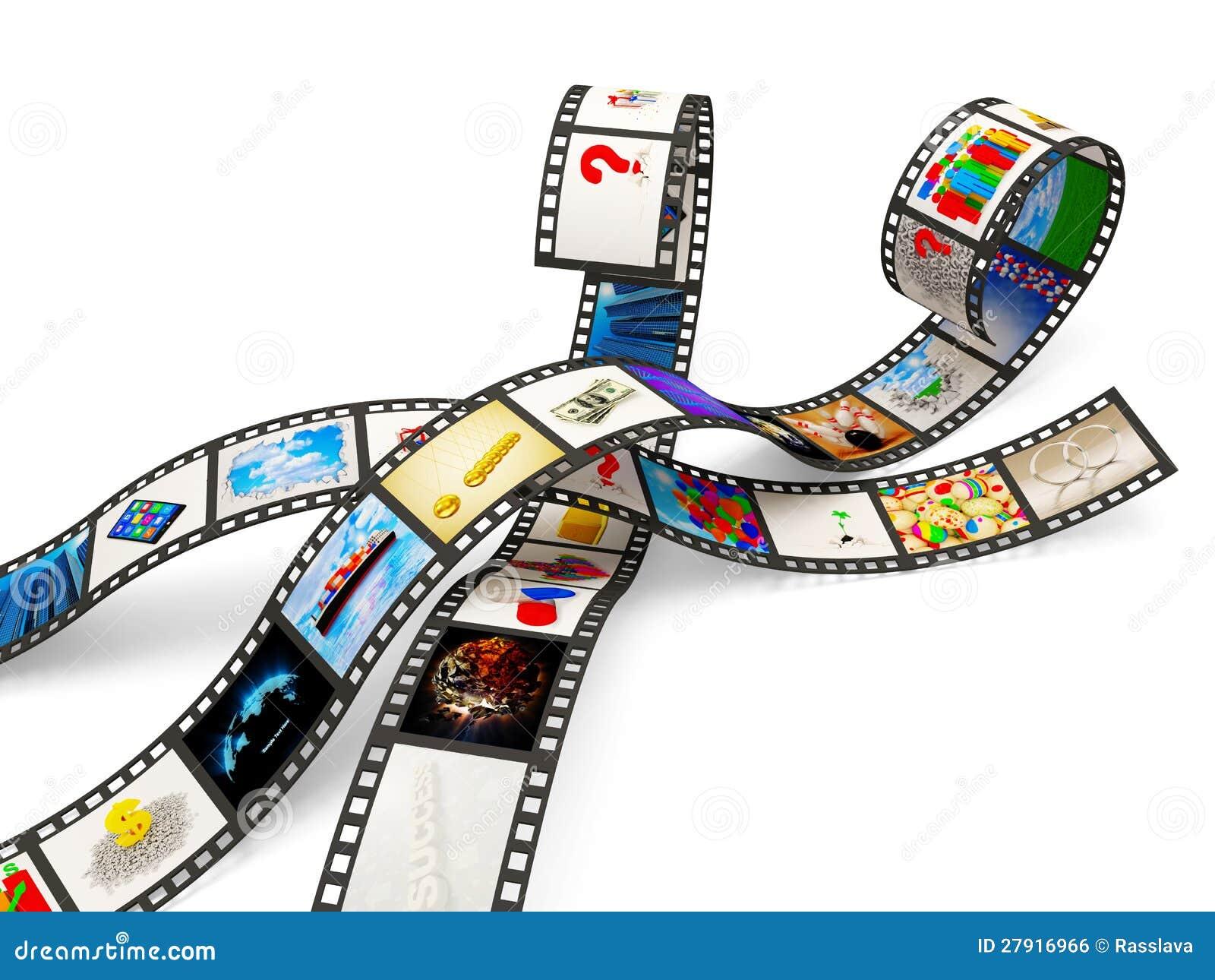 Tiras da película com imagens