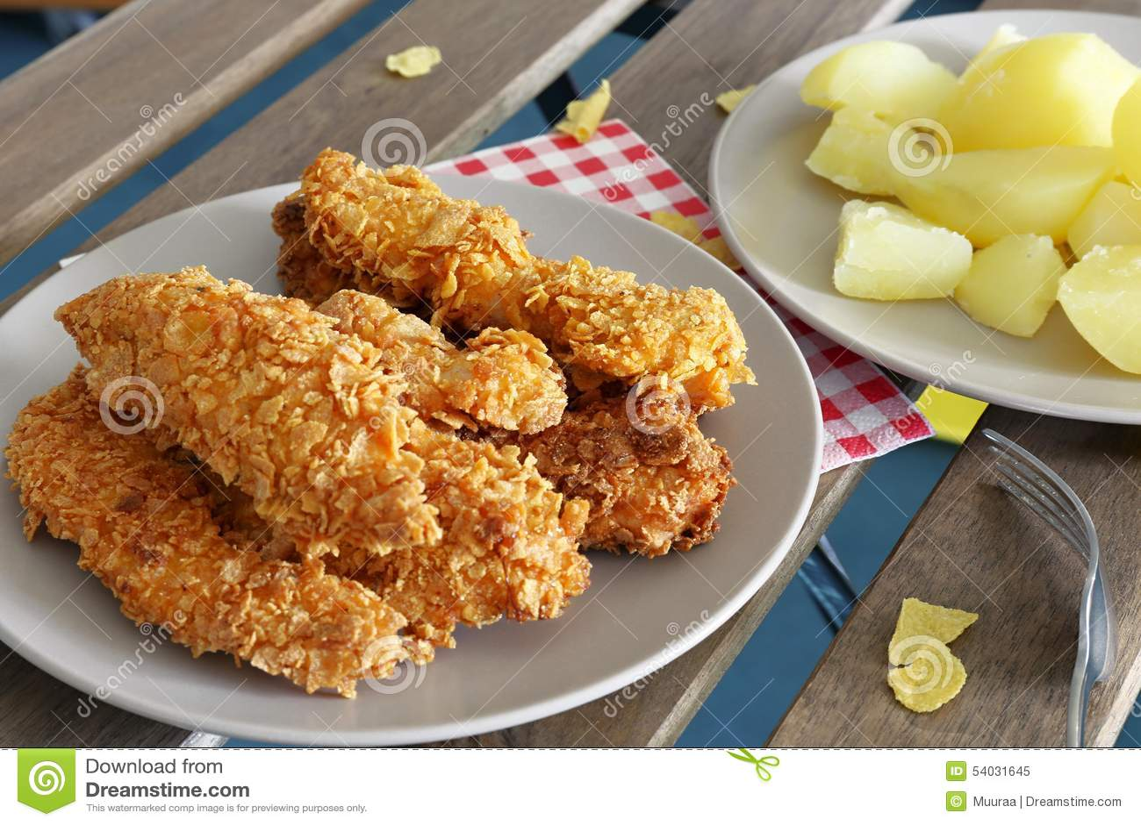 Tiras de pollo frito hecho en casa