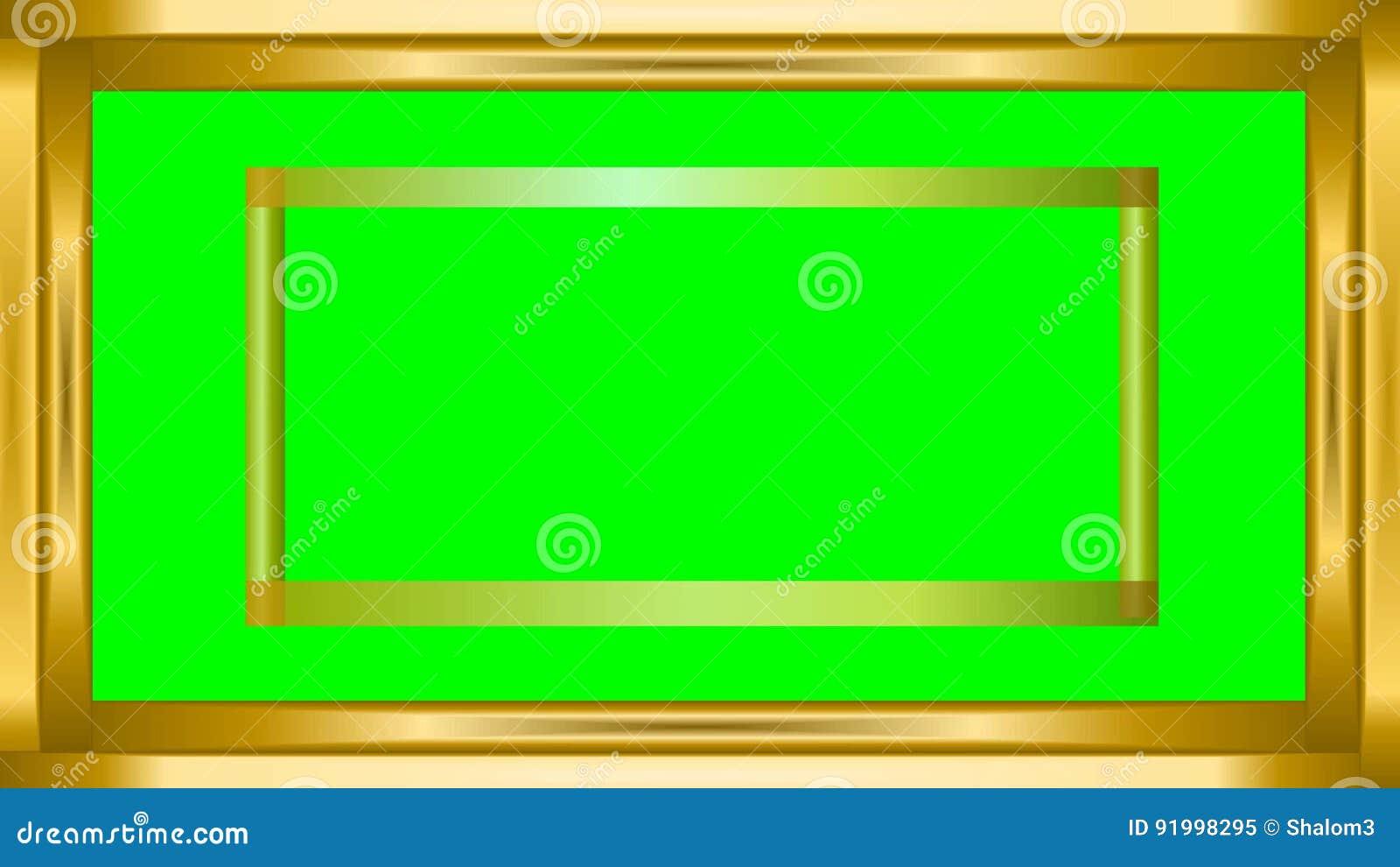 Tiras Metálicas De Oro Del Marco Video En El Mate Verde, Rindiendo ...