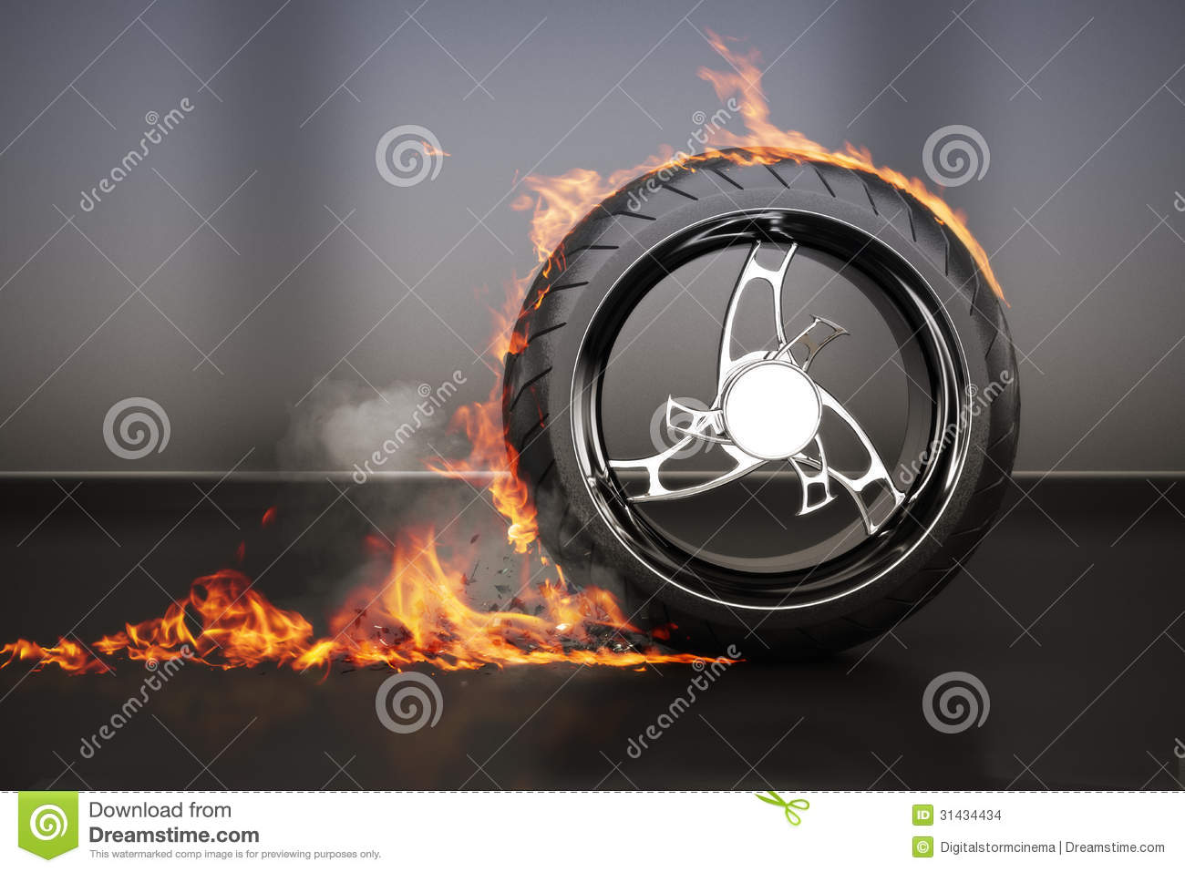 Tire Burnout With Flames Smoke And Debris,concept Stock ...
