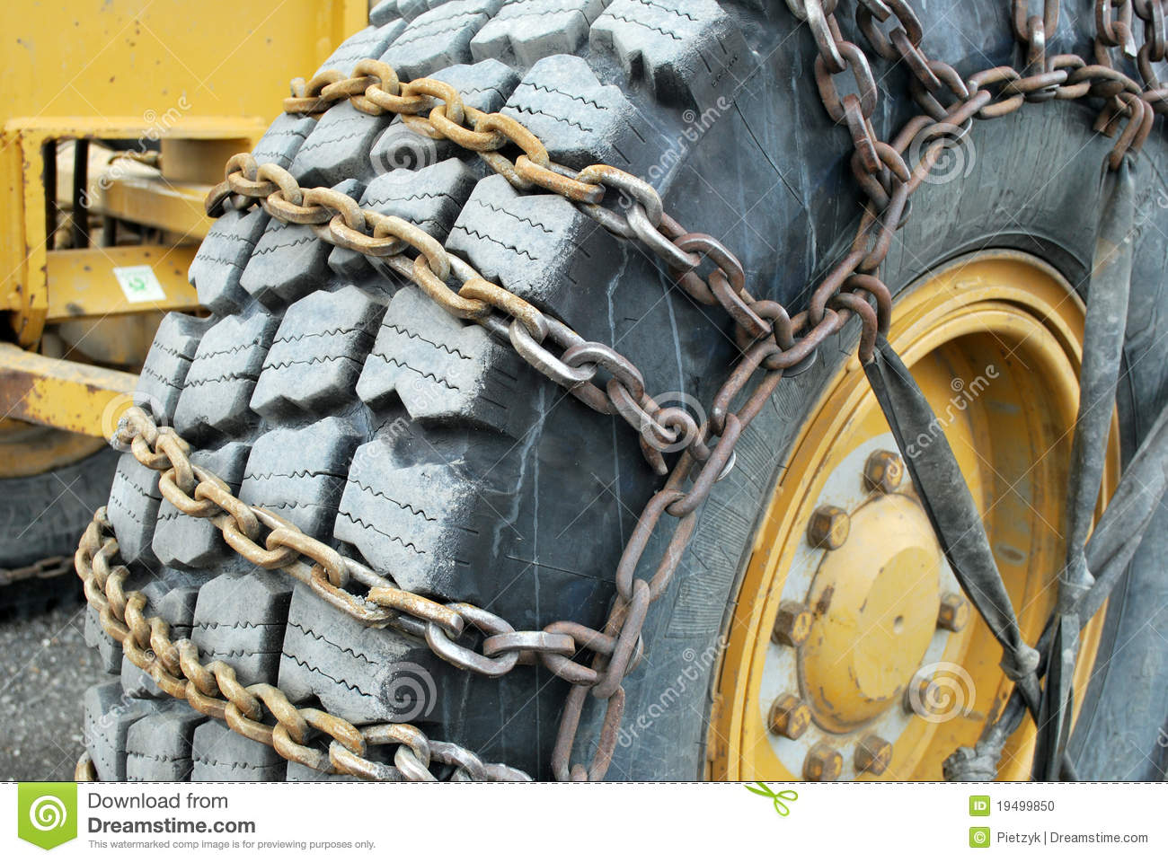Tire Chains On Road Grader Stock Photo Image Of
