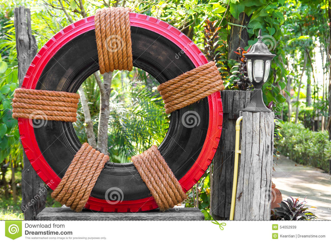 tire garden decor stock photo - image: 54052939