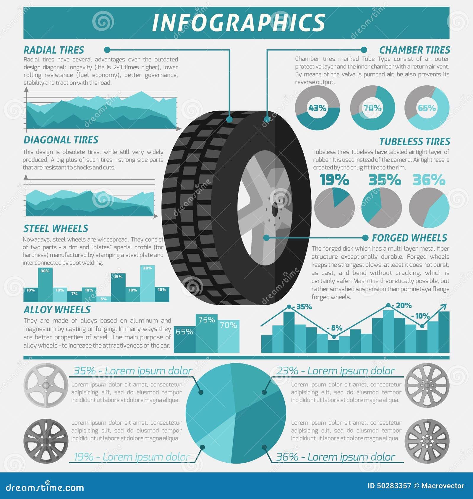 Winter Tires Vs All Season >> Tire Infographic Set stock vector. Illustration of infographics - 50283357