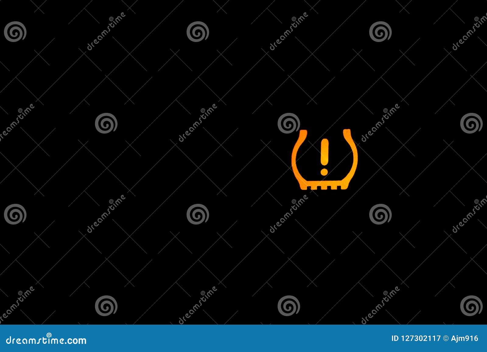 Tire Pressure Warning Light Sign Car Light Indicator Yellow Indoor