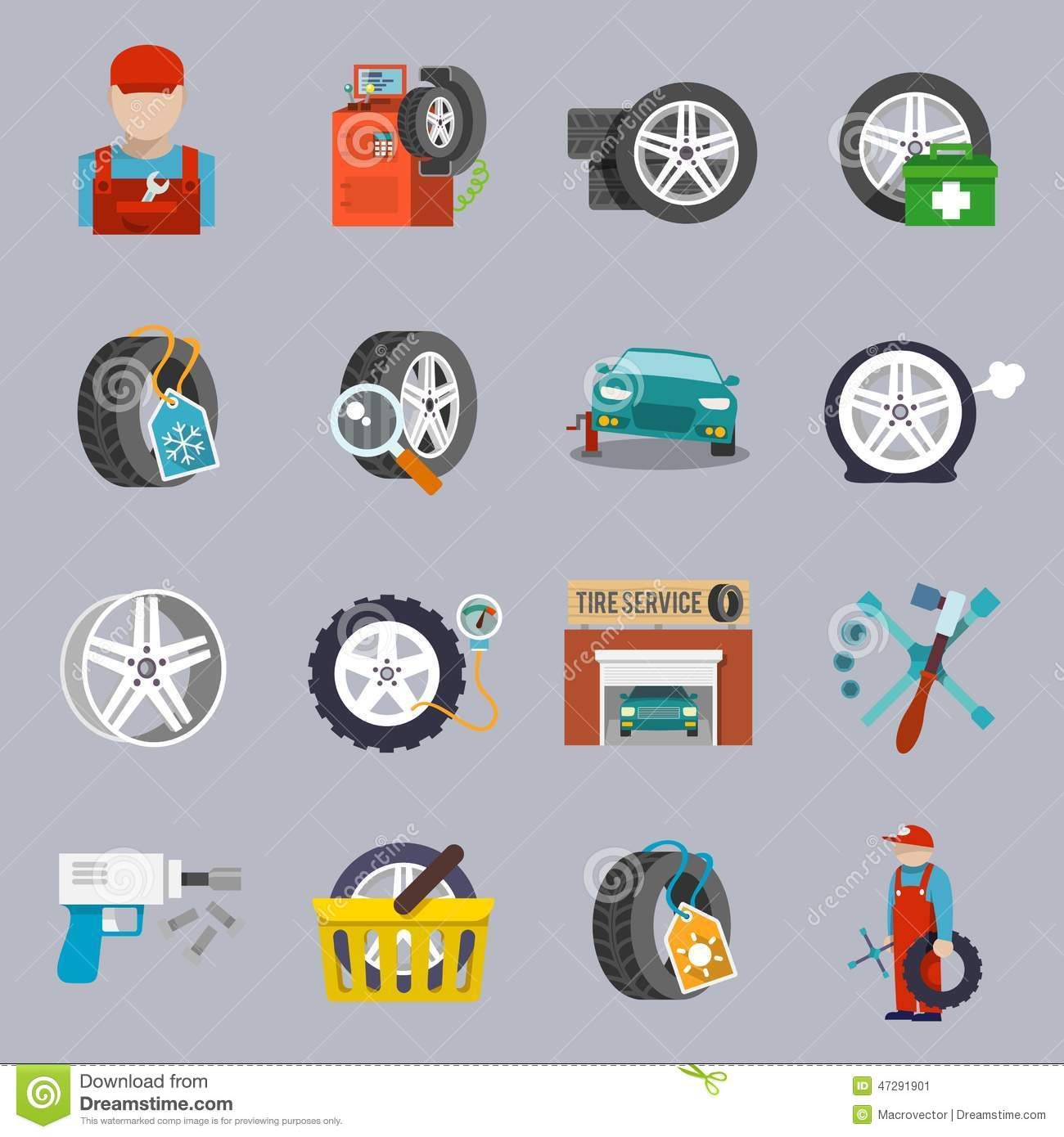 Tire Service Icon Flat Stock Vector Image Of Illustration