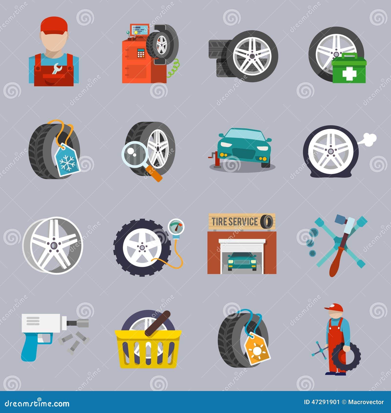 Car Service Maintenance Flat Icon Set Vector Art Thinkstock