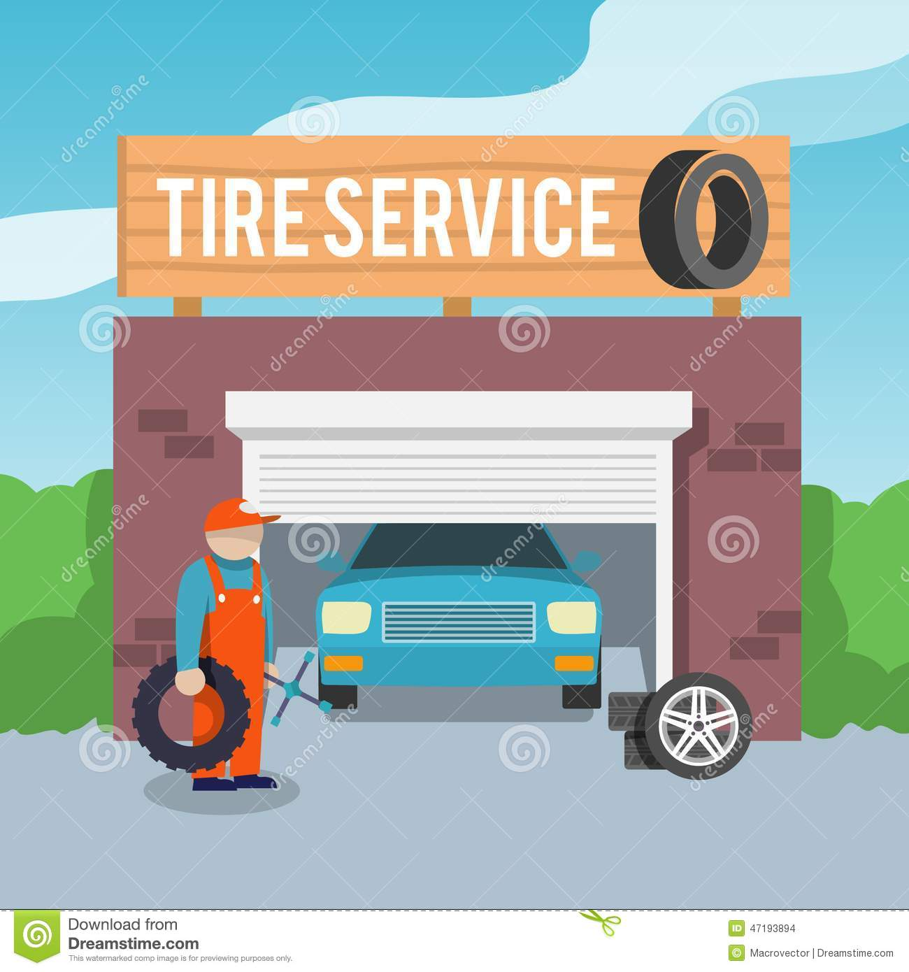 Tire Service Poster Stock Vector Image 47193894