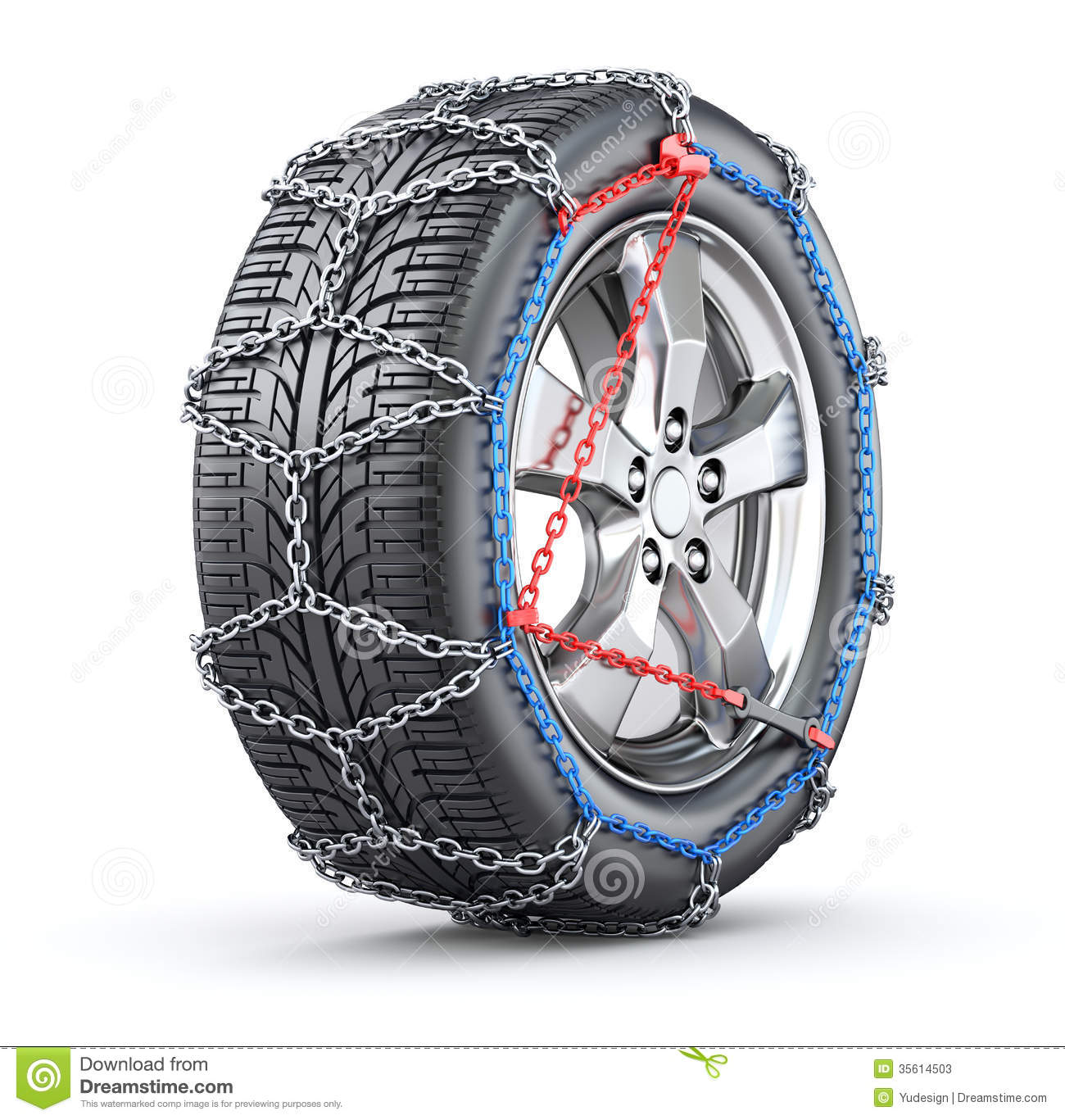 tire with snow chain stock photos image 35614503. Black Bedroom Furniture Sets. Home Design Ideas