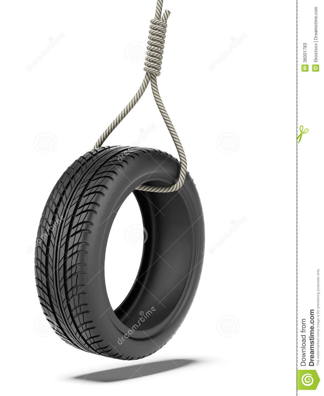 Tire swing over stock illustration image of rope rubber for Rope swing plans
