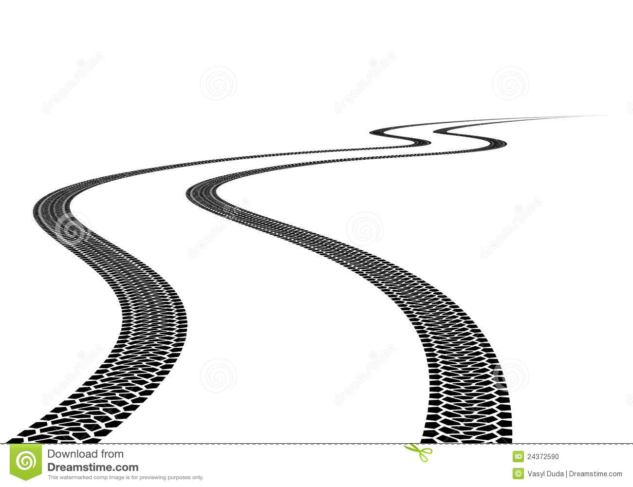 Road Tire Track. Illustration on white background.