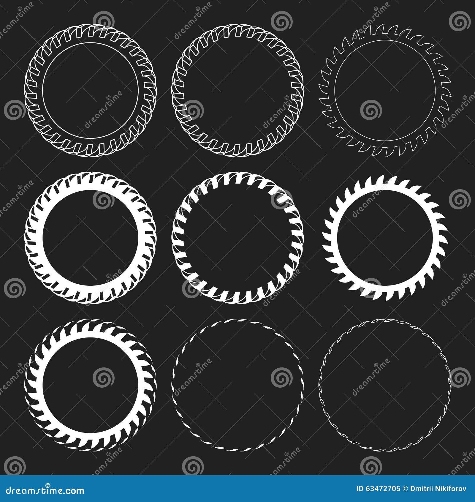 Tire Track Vector Round Border Frame Set. Overlay Logo Design Frame.
