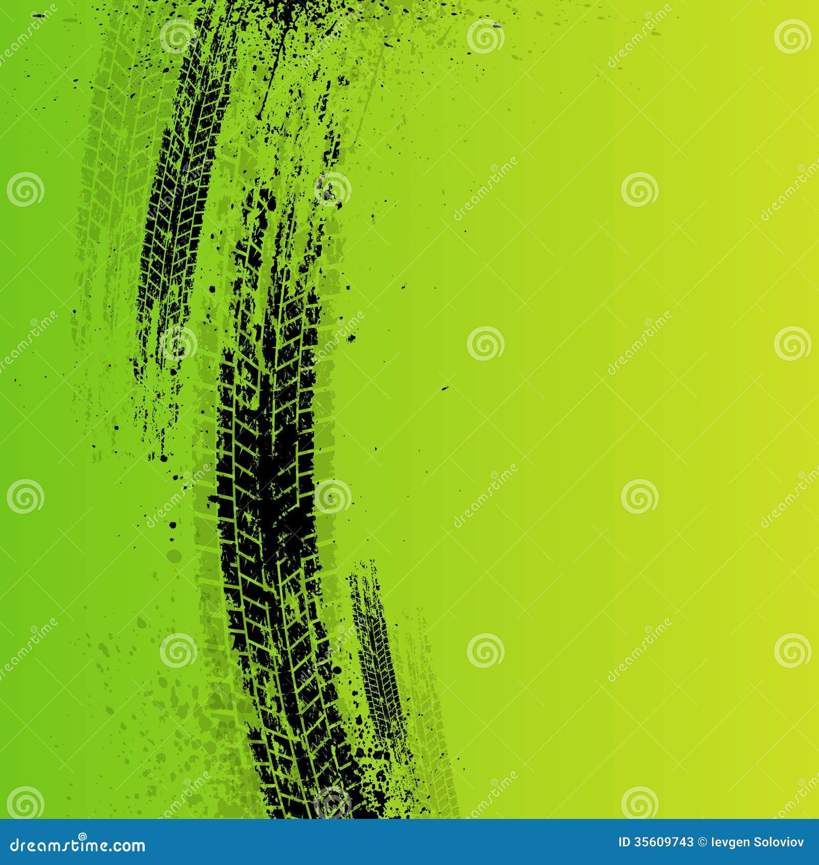Green grunge tire track background vector illustration 87497294 - Tire tread wallpaper ...