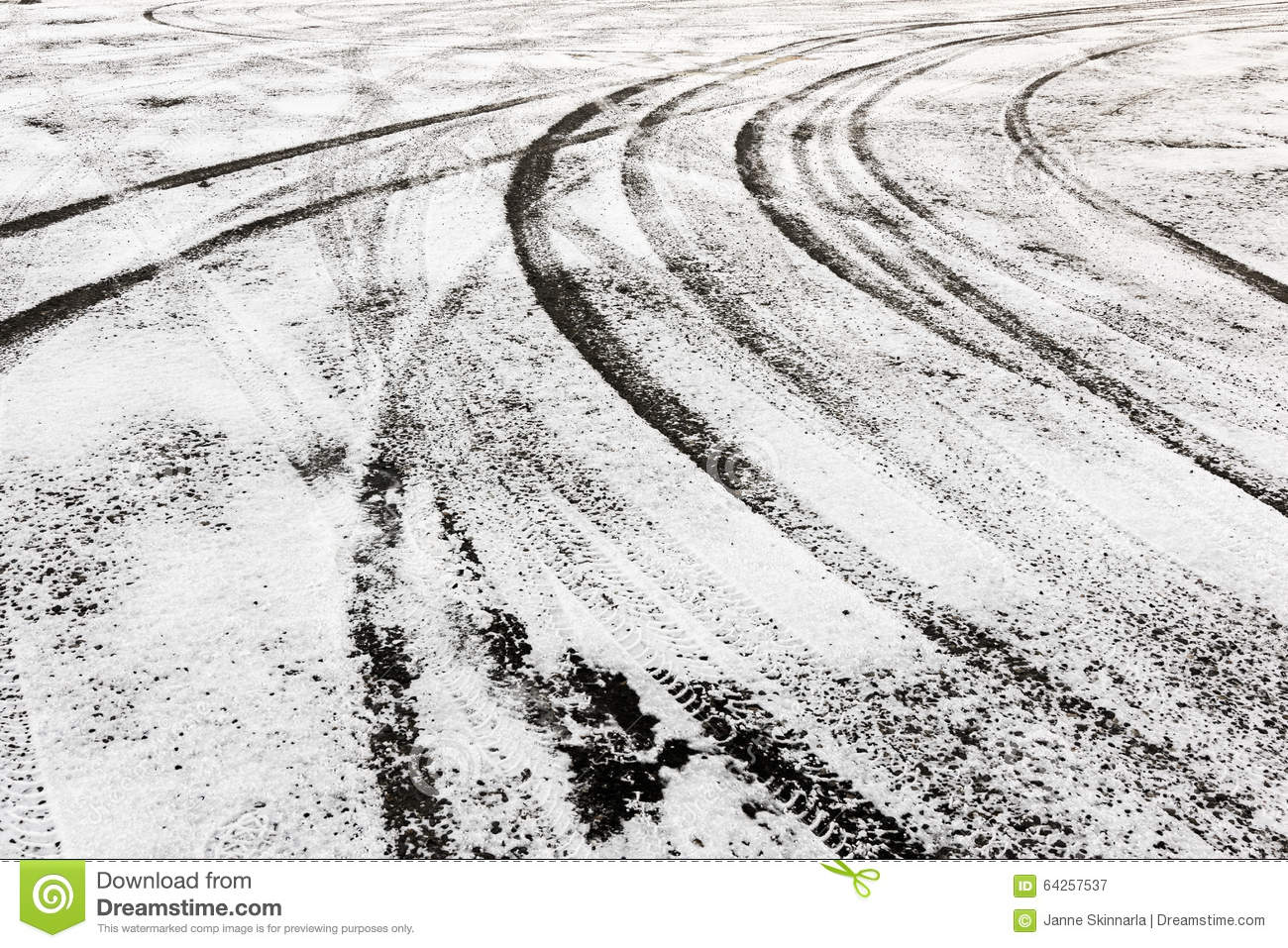 Tire Tracks In The Snow-covered Ground Stock Photo - Image: 64257537
