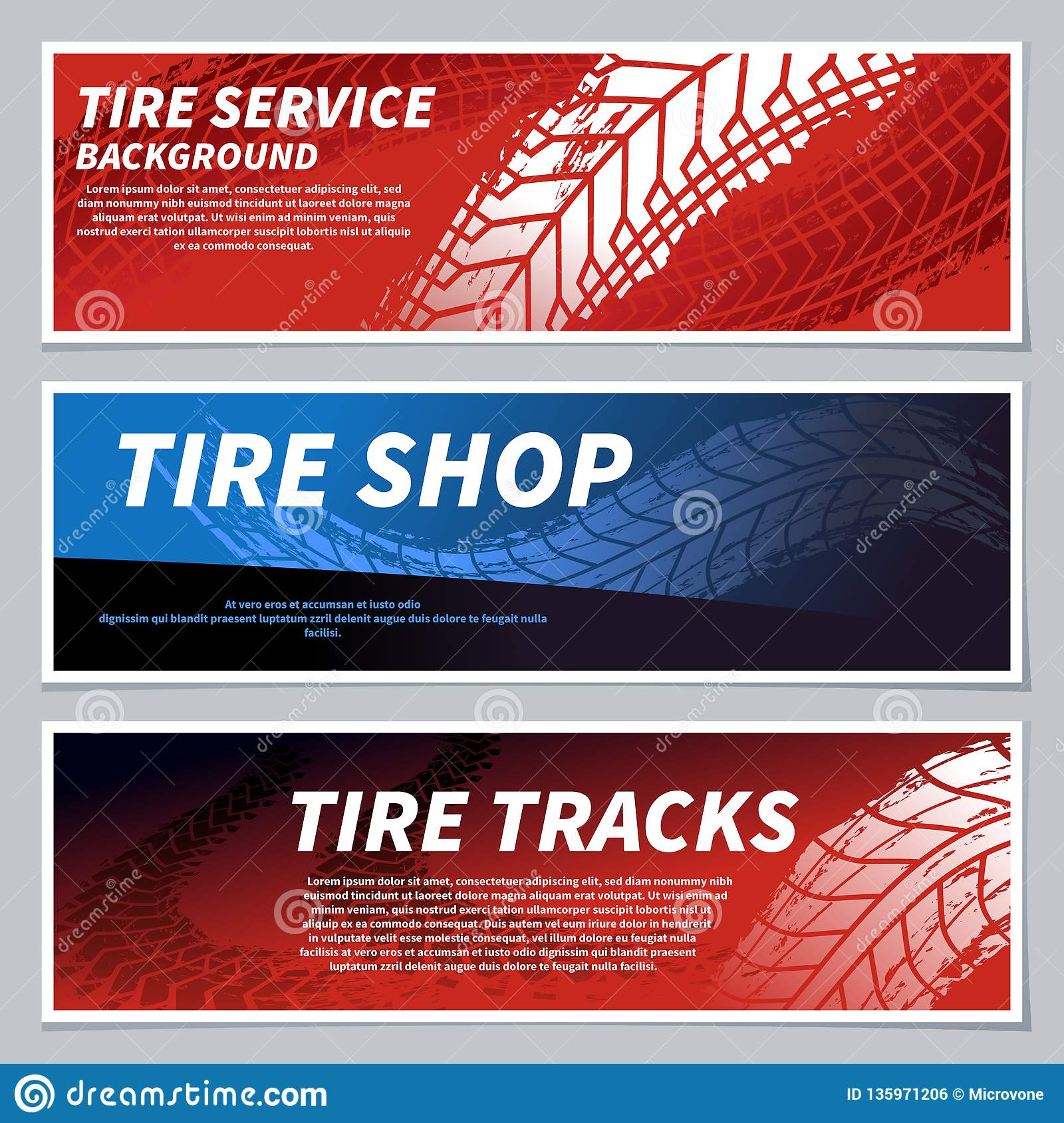 tire track banners cartoon vector