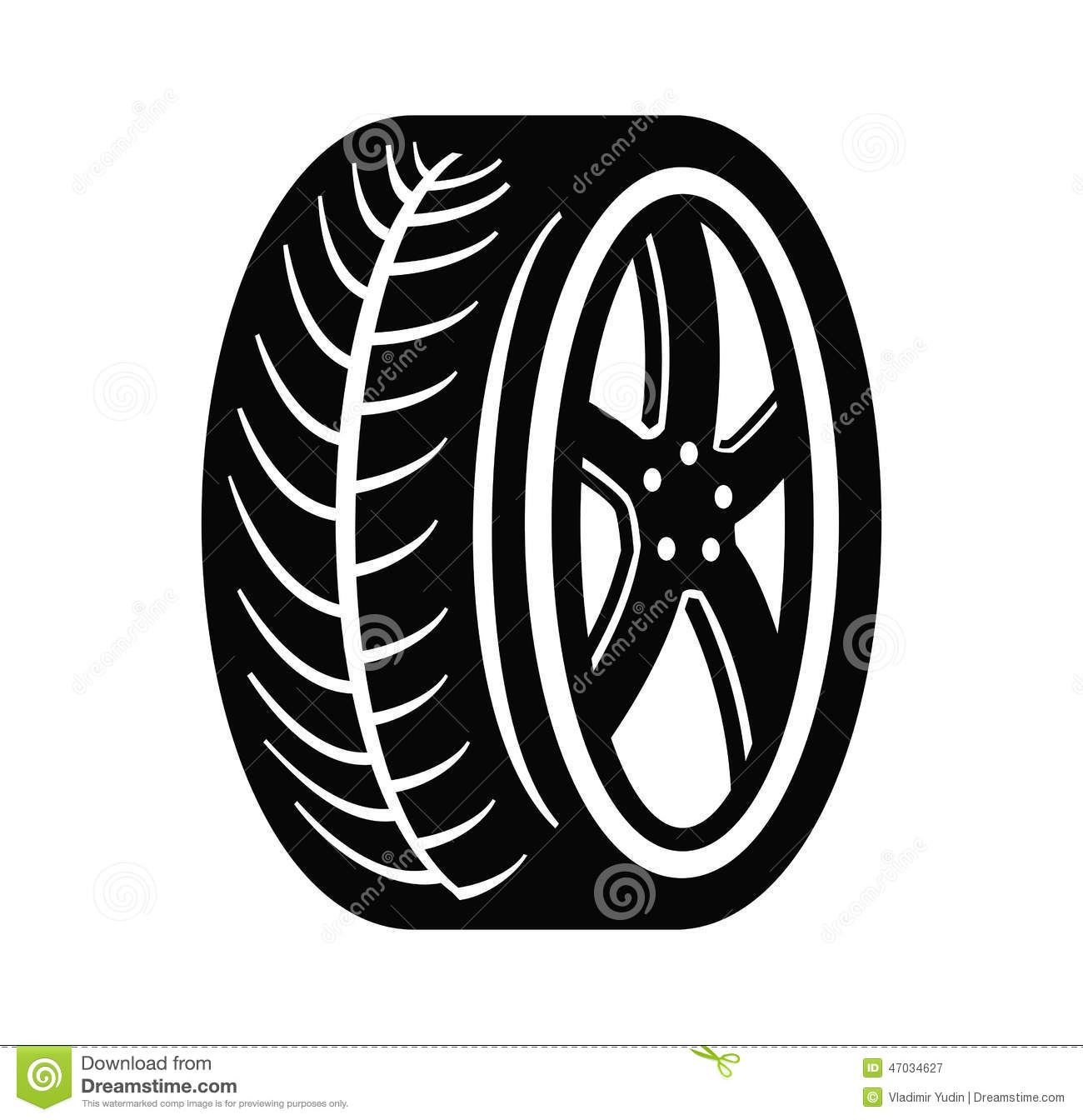 Vector black tire and wheel on white background.