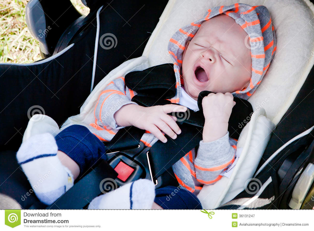 Tired Baby In Car Seat Royalty Free Stock Photography