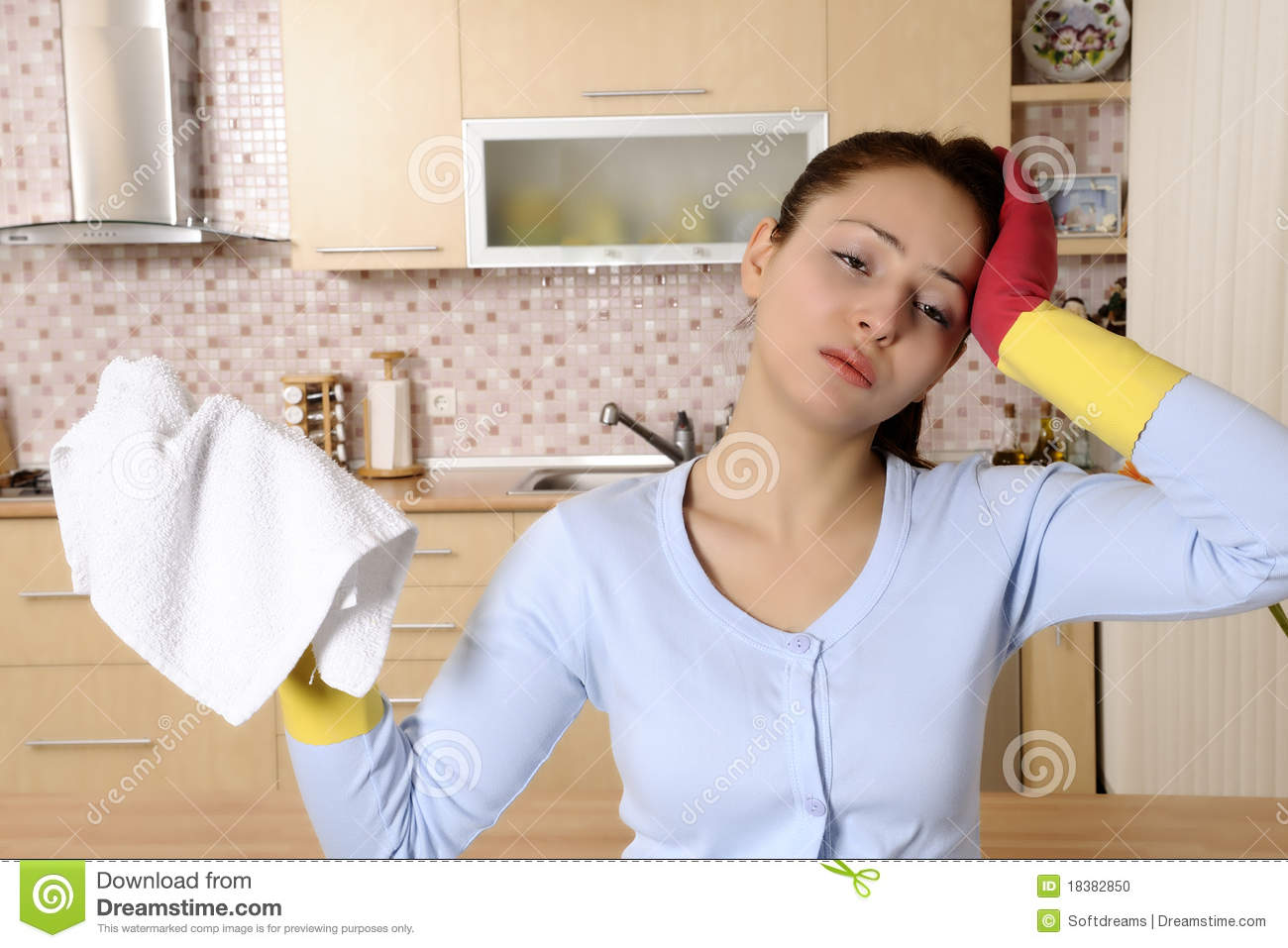 tired beautiful women after cleaning the house stock photo - image