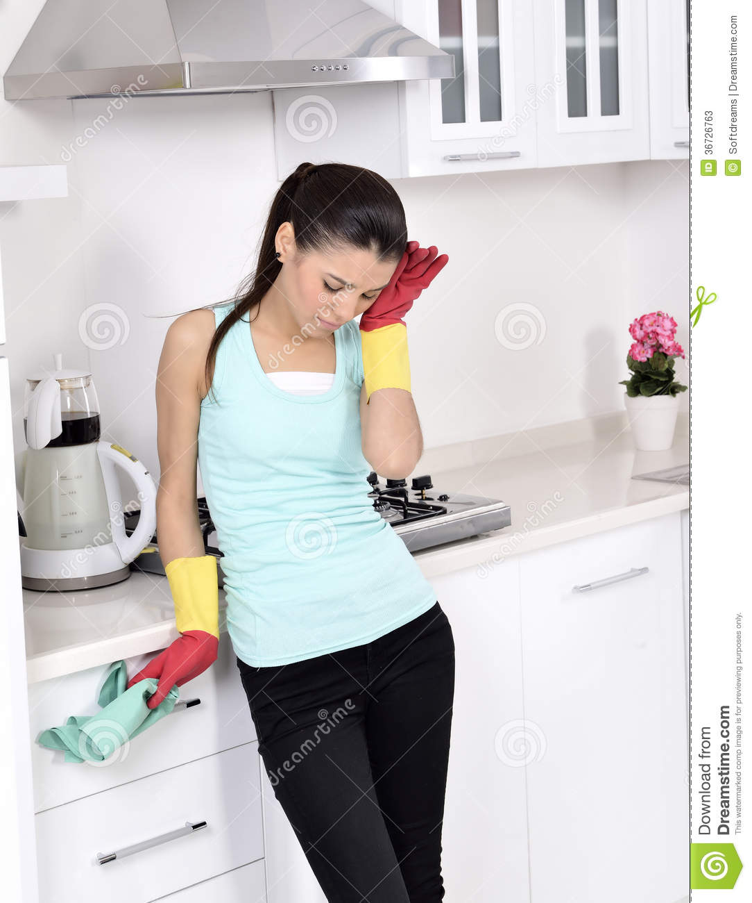 tired beautiful women after cleaning the house stock photos