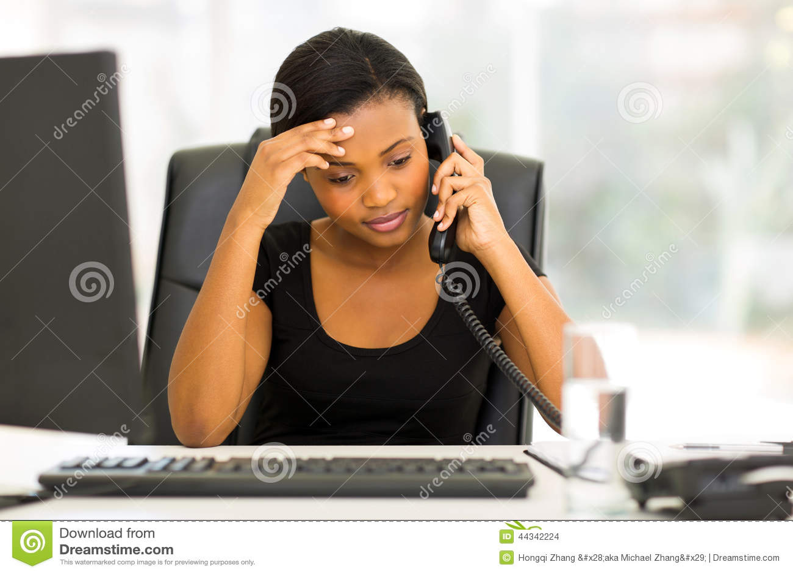 Tired black businesswoman