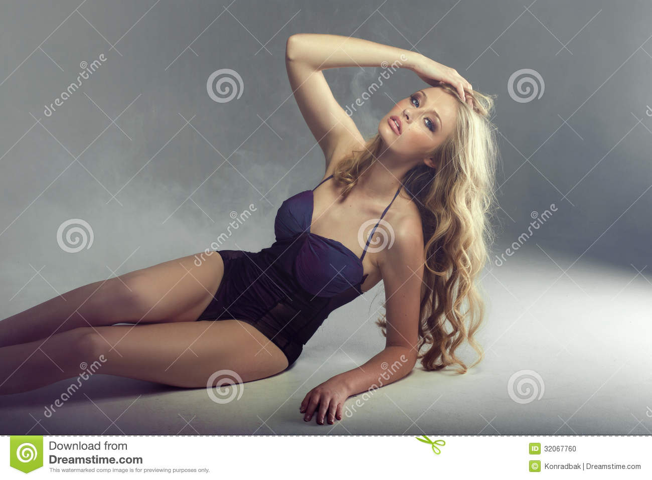 Tired blonde lady in great pose