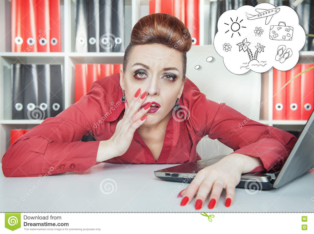 bored business w dreaming about holiday in office stock photo tired bored businessw dreaming about holiday in office royalty stock photography