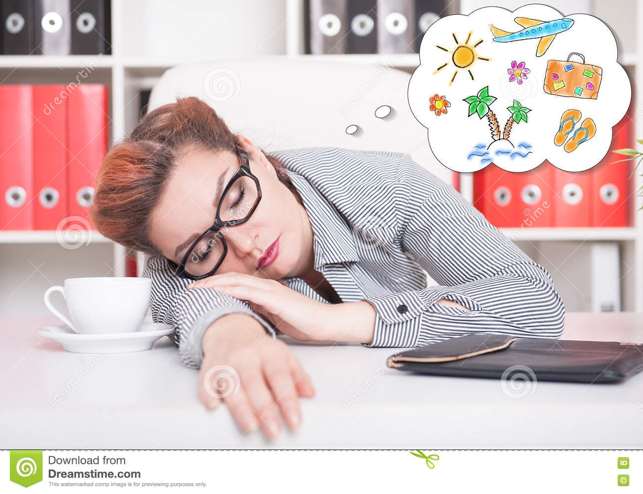 Tired business woman sleeping and dreaming about vacation in off
