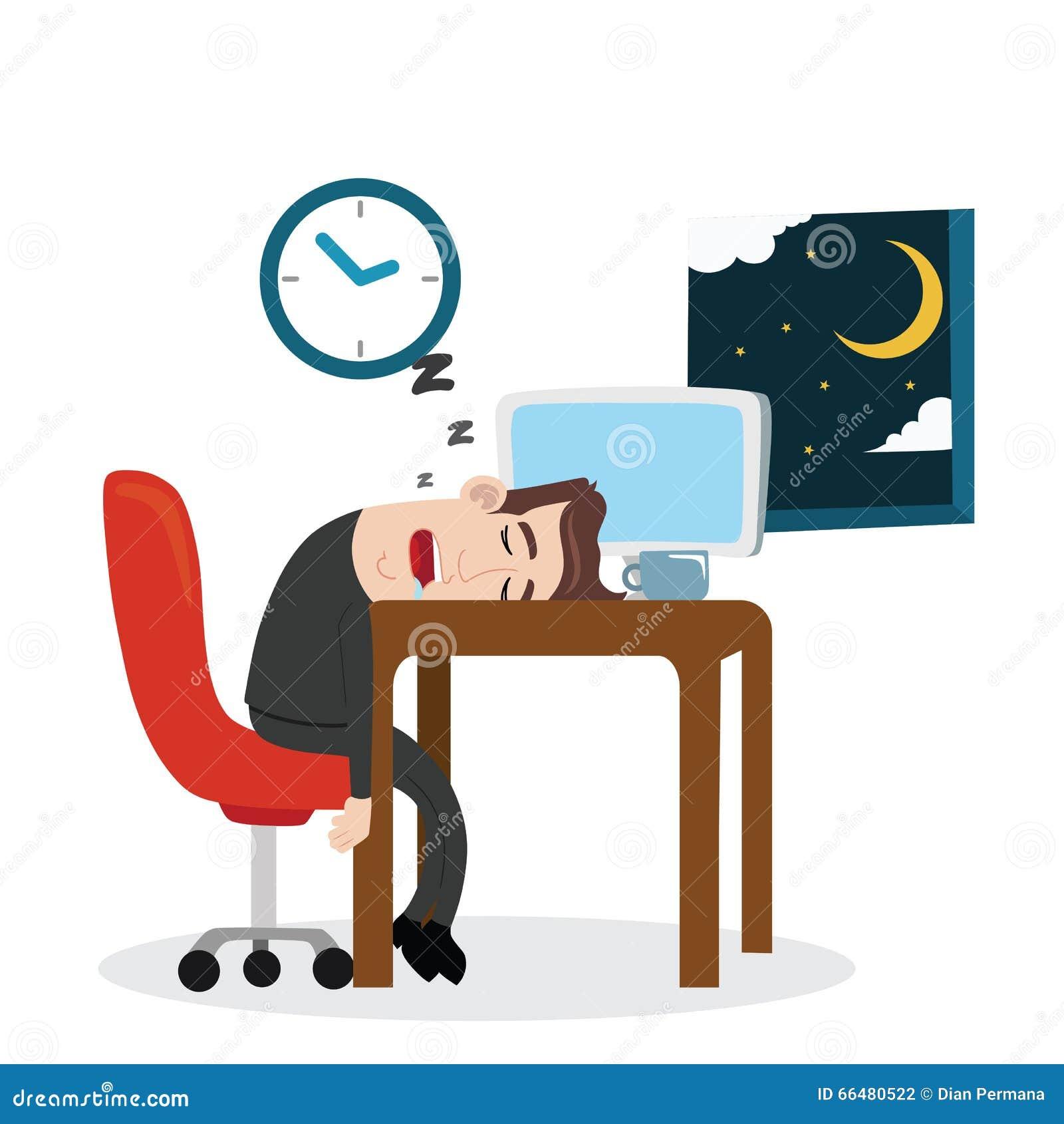 tired businessman sleeping at work stock vector illustration of