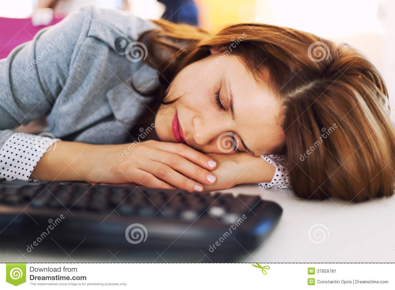 Travel Dog Bed >> Tired Businesswoman Sleeping At Office Stock Image - Image ...
