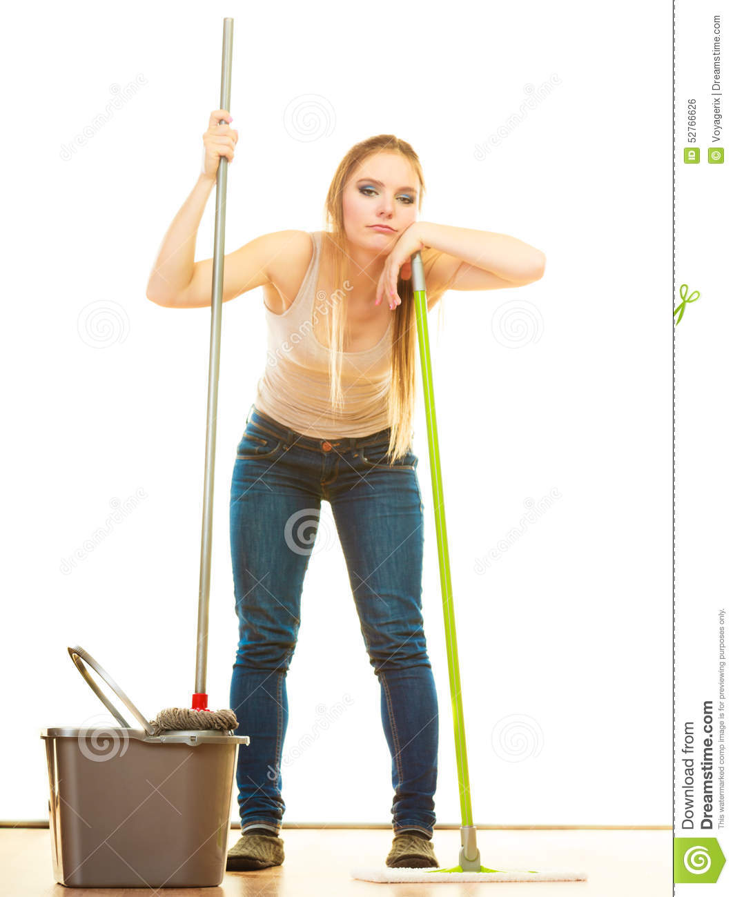 Spring Cleanup Tired Cleaning Woman Mopping Floor Stock Photo Image Of