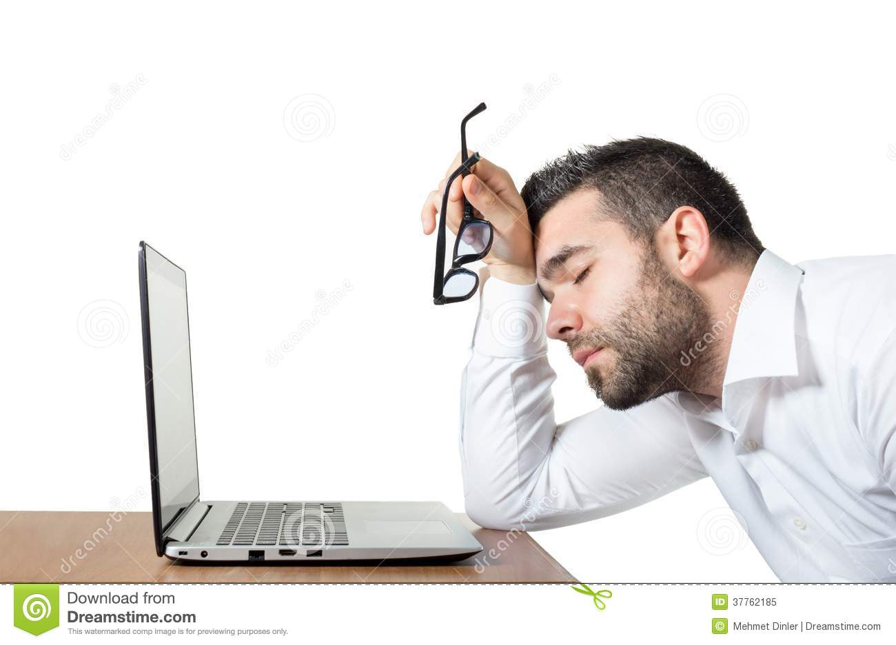 Tired Employee Stressed Enough To Sleep Stock Image