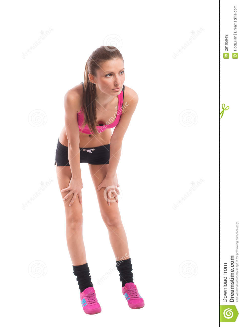 Tired fit girl, on white background