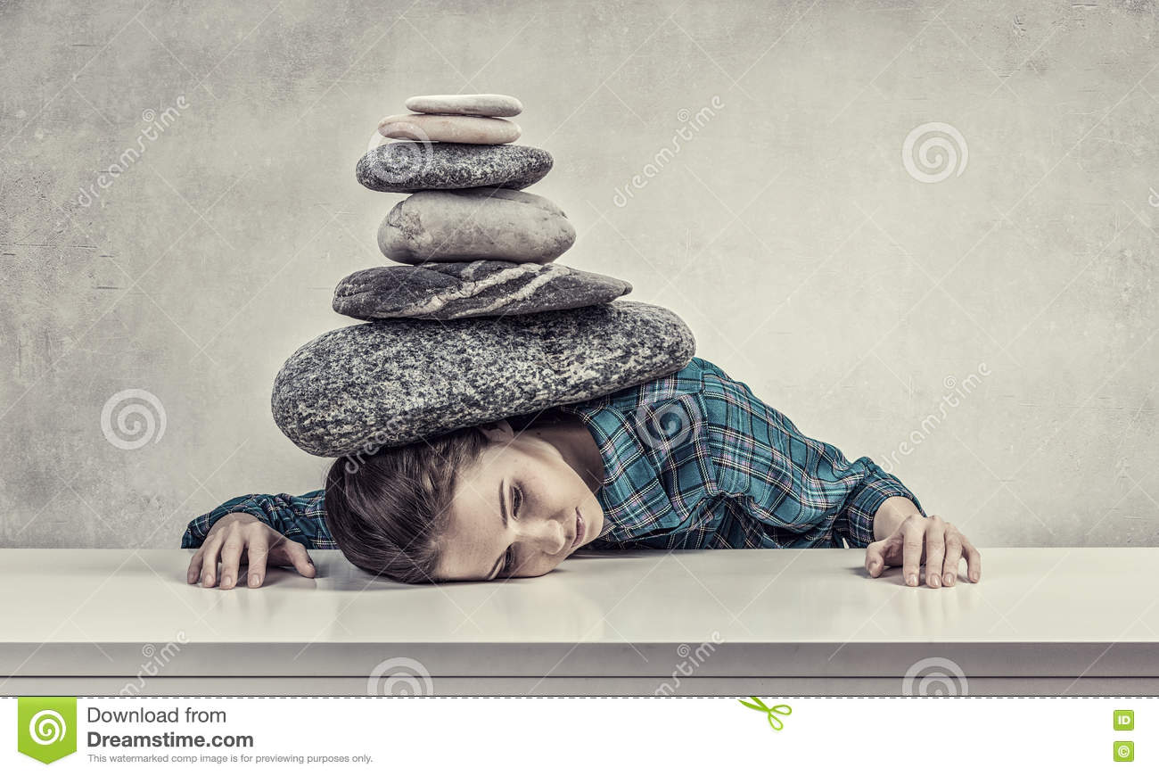 Crushed Stone Weight : Tired girl under pressure stock photo image of suppressed