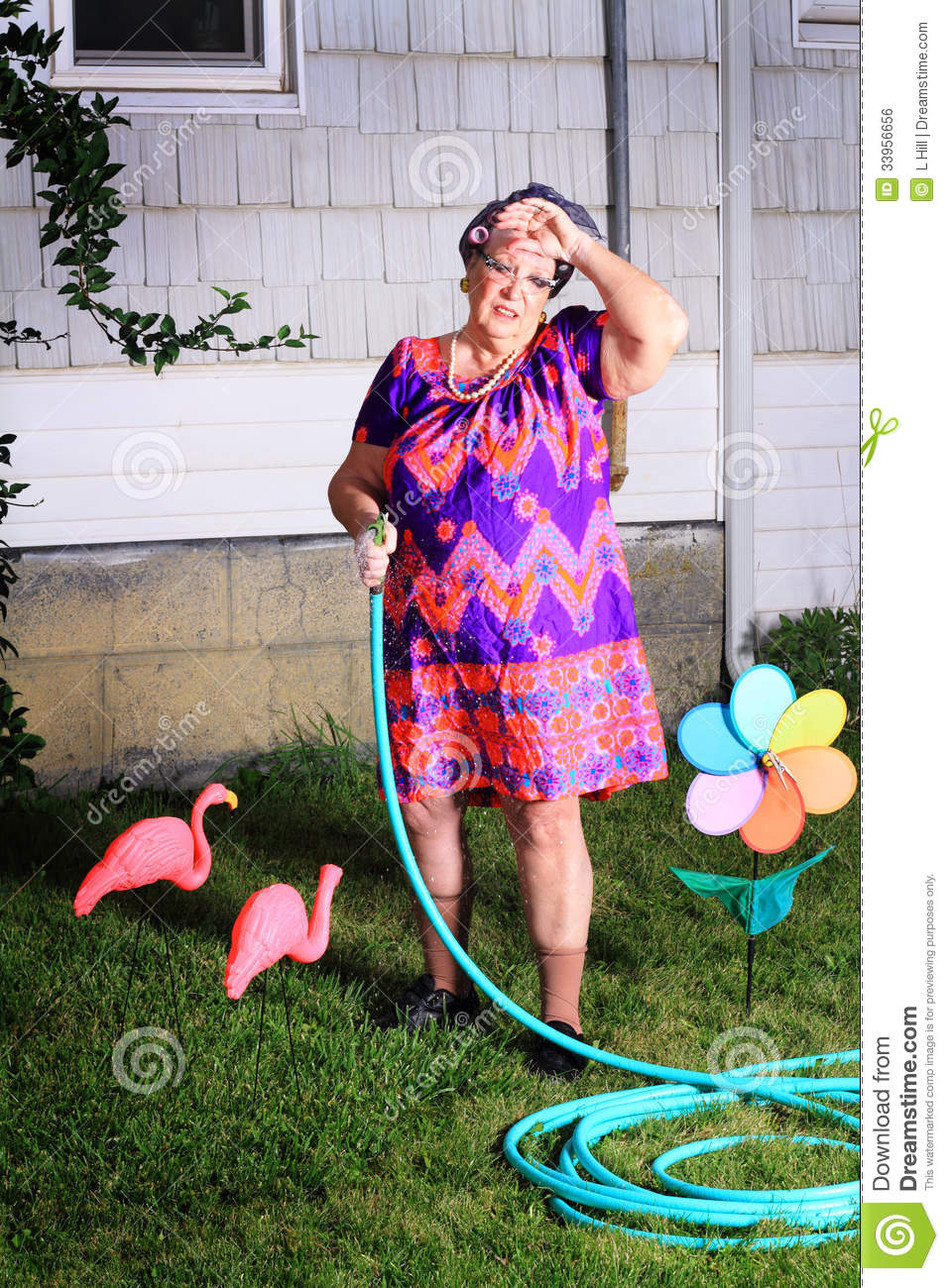 5c4640927d Silly image of a tired senior gray haired granny lady wearing cat eye  glasses