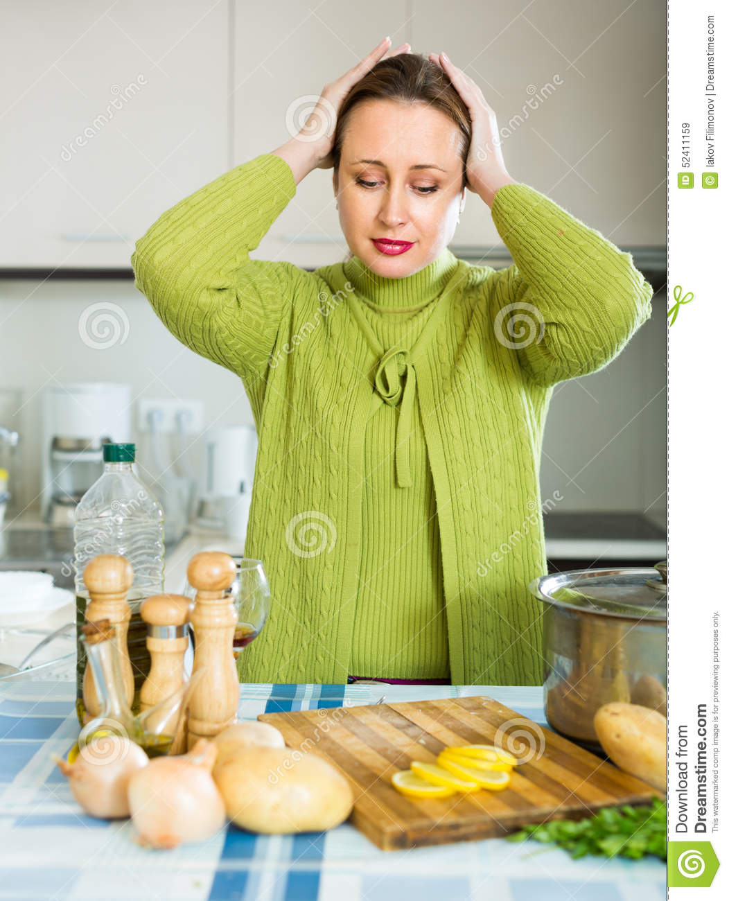 Tired Housewife At Kitchen Stock Photo - Image: 52411159