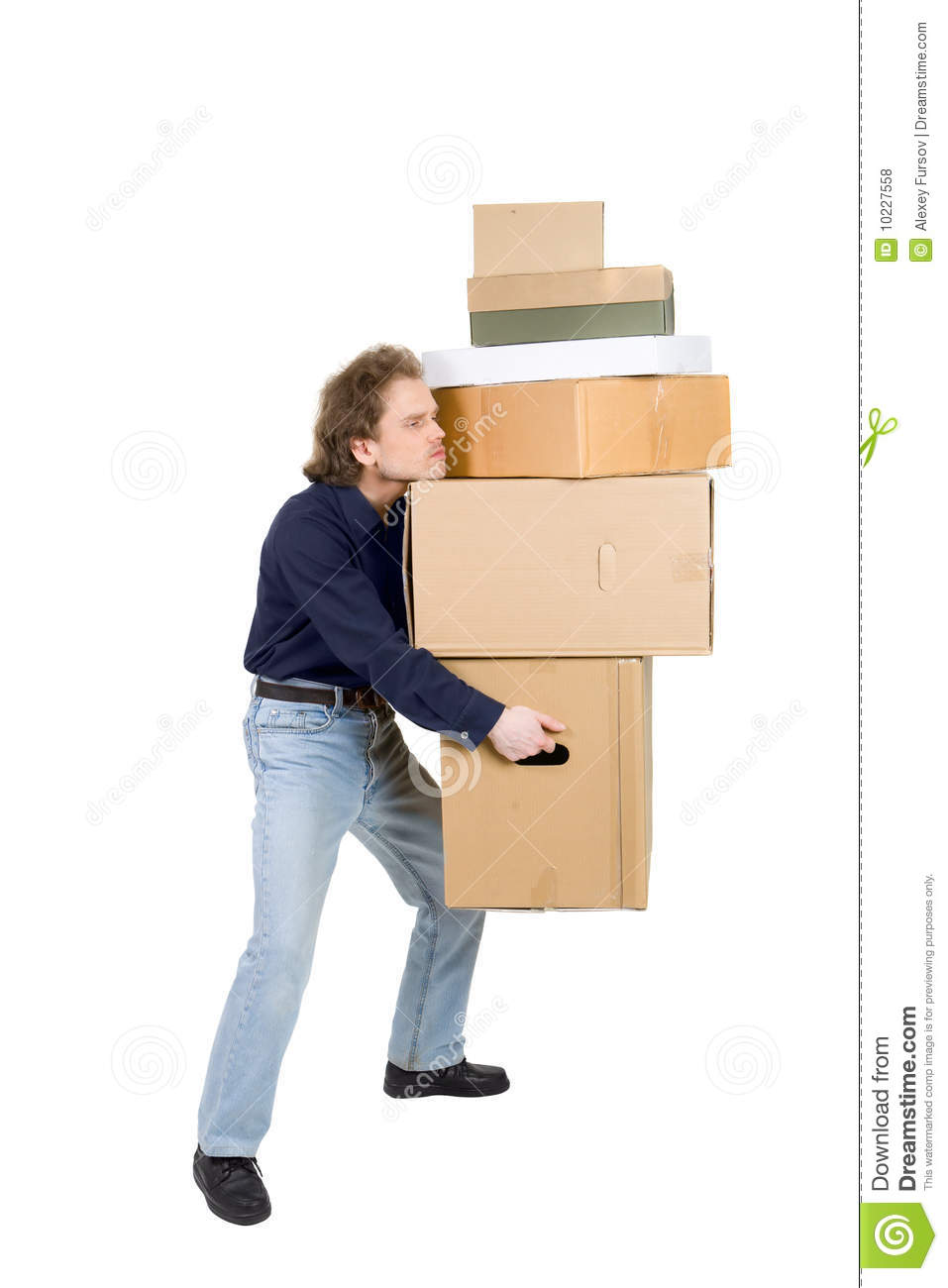 Tired Man Carrying Many Cardboard Boxes Stock Photo