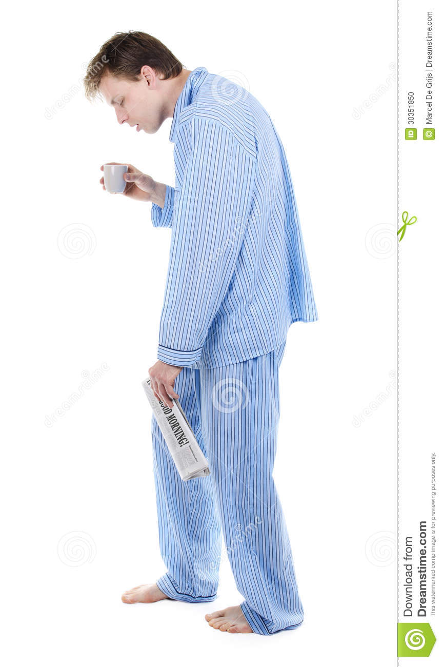Tired Man In Pajamas With Newspaper And Coffee Stock Photo - Image ...