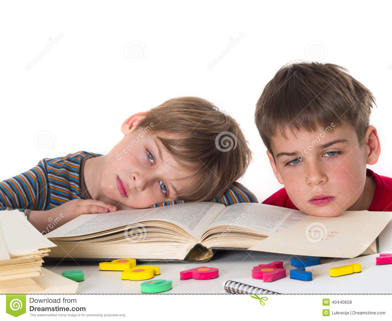 Tired pupils stock photo. Image of schoolchild, difficulty ...