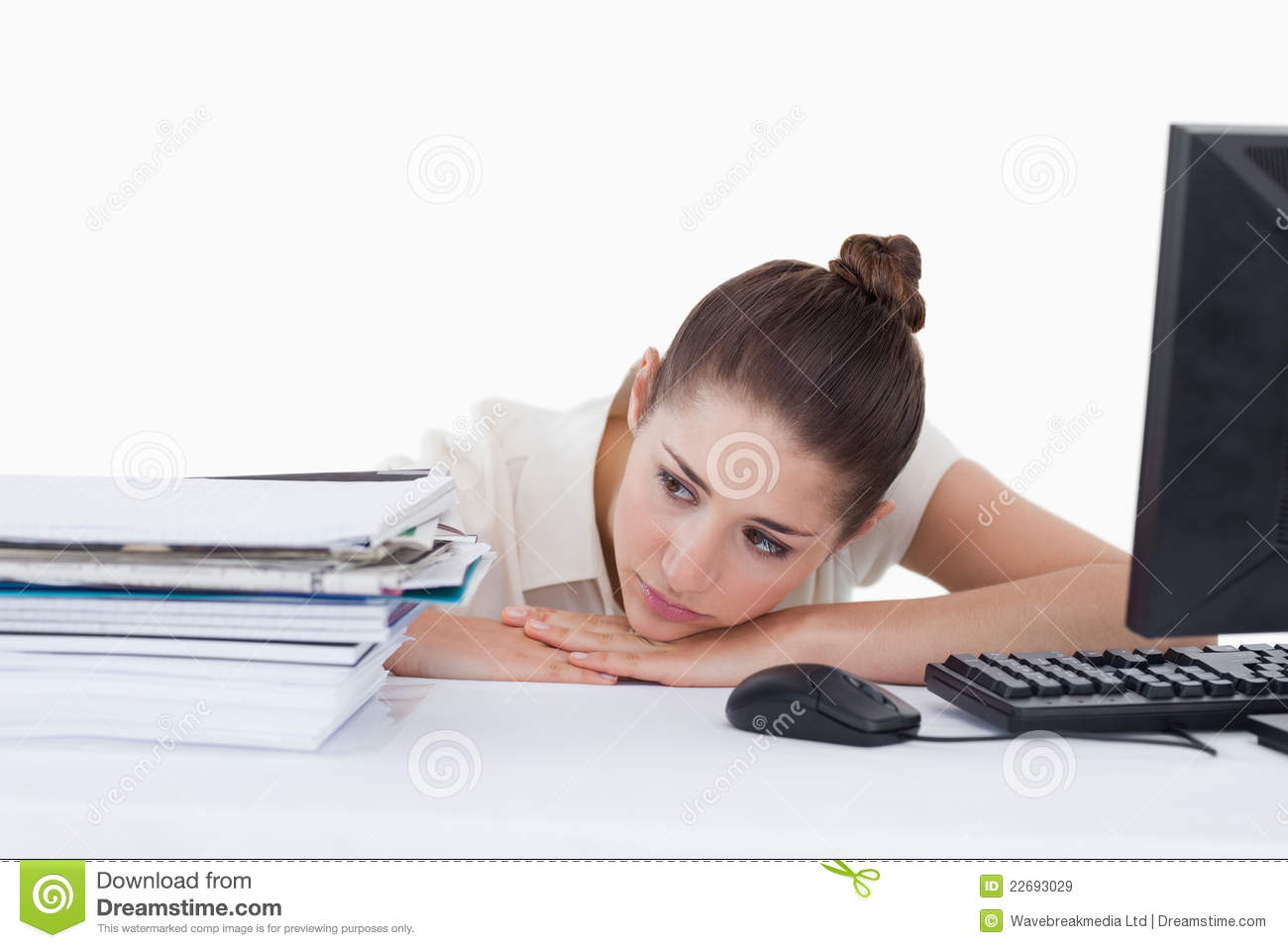 Tired Secretary Leaning On Her Desk Royalty Free Stock