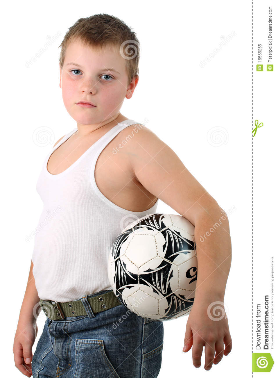 Tired Small Boy Carries The Soccer Ball Isolated Royalty Free Stock ...