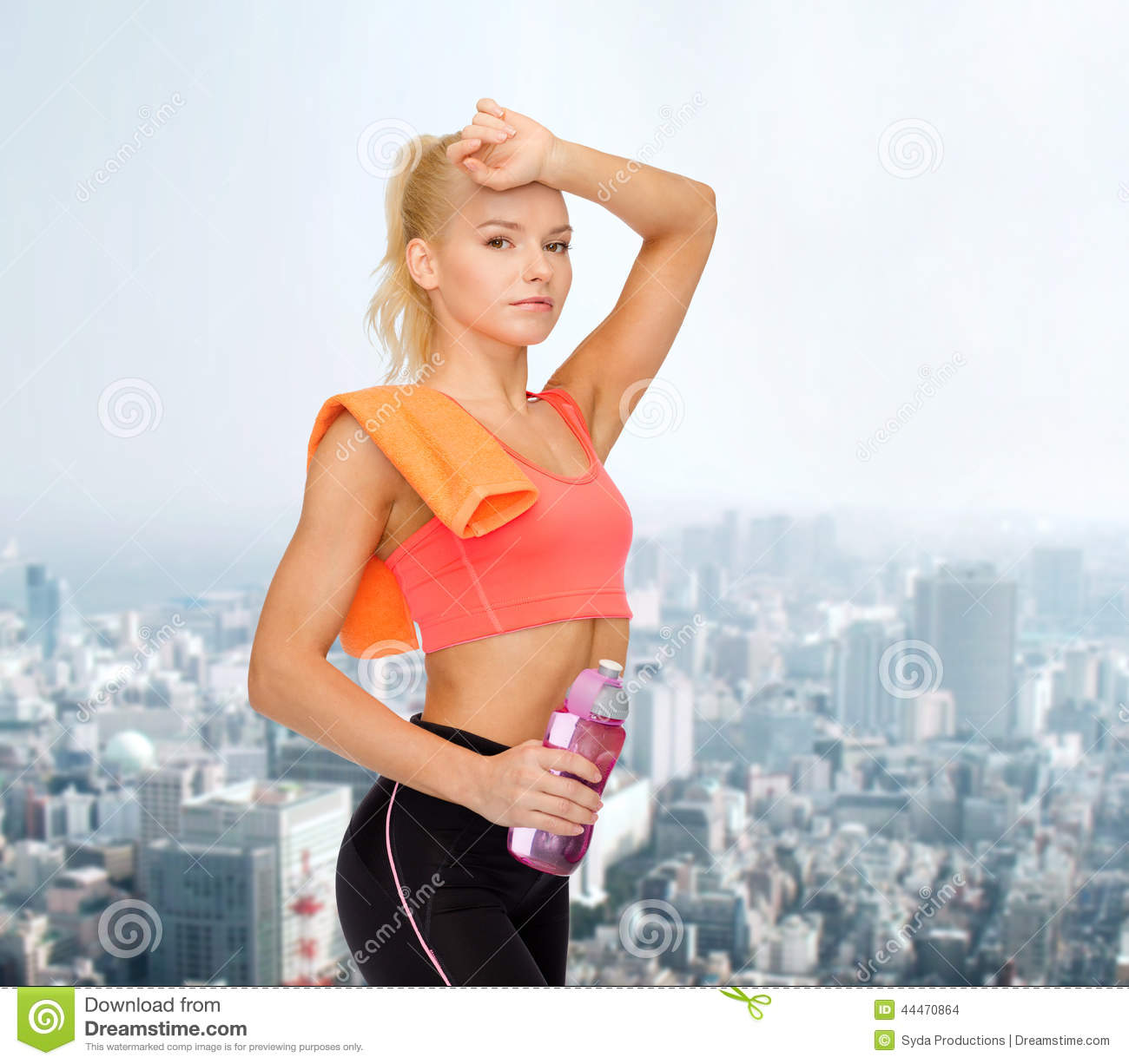 Sweat Towel Water Bottle: Tired Sporty Woman With Towel And Water Bottle Stock Photo