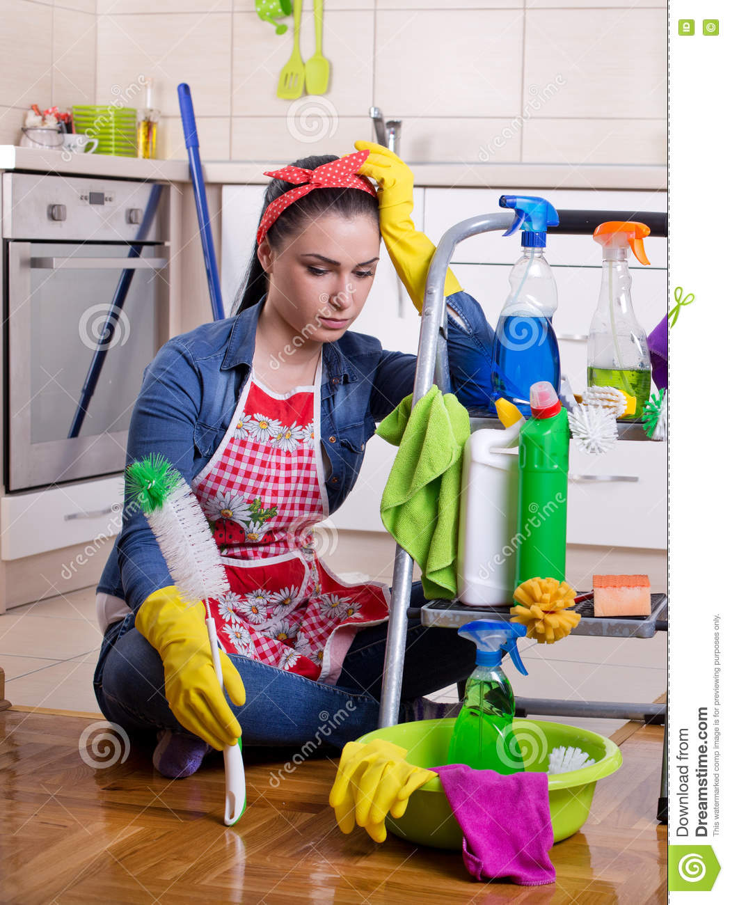 Tired And Unhappy Cleaning Lady Stock Photo Image 71819726