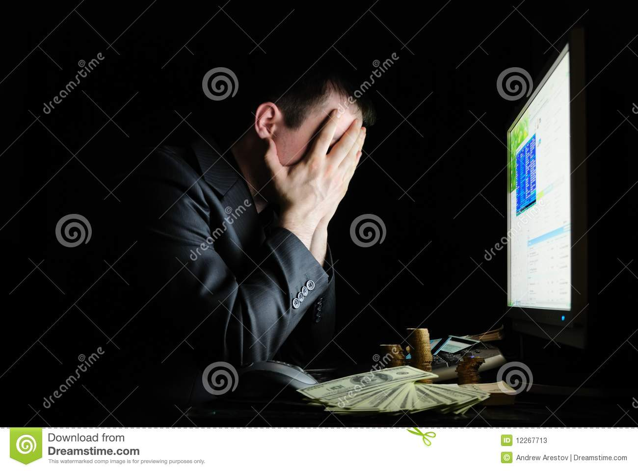 Tired user in front of the monitor