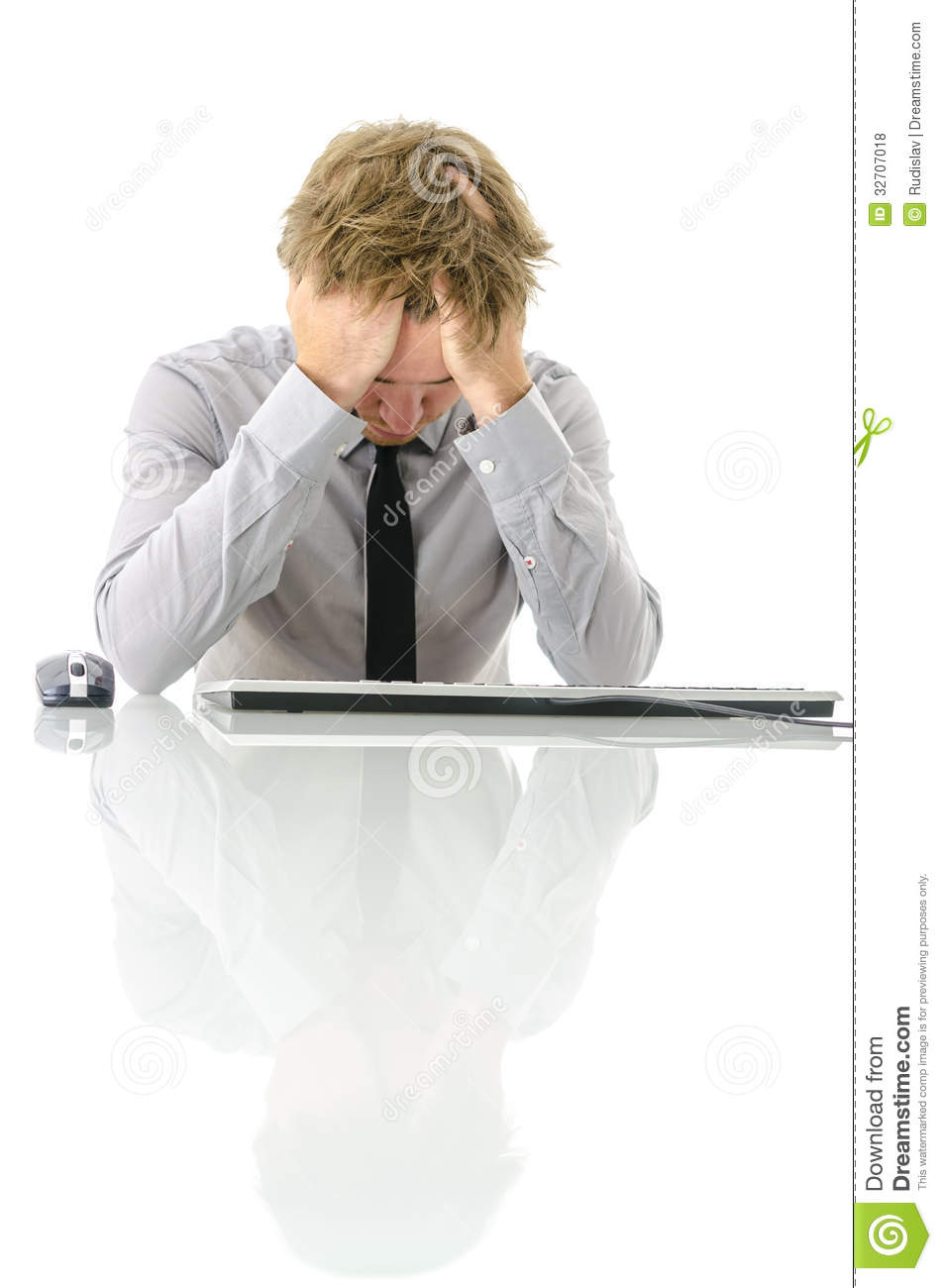 Tired Workaholic Sleeping At His Desk Royalty Free Stock