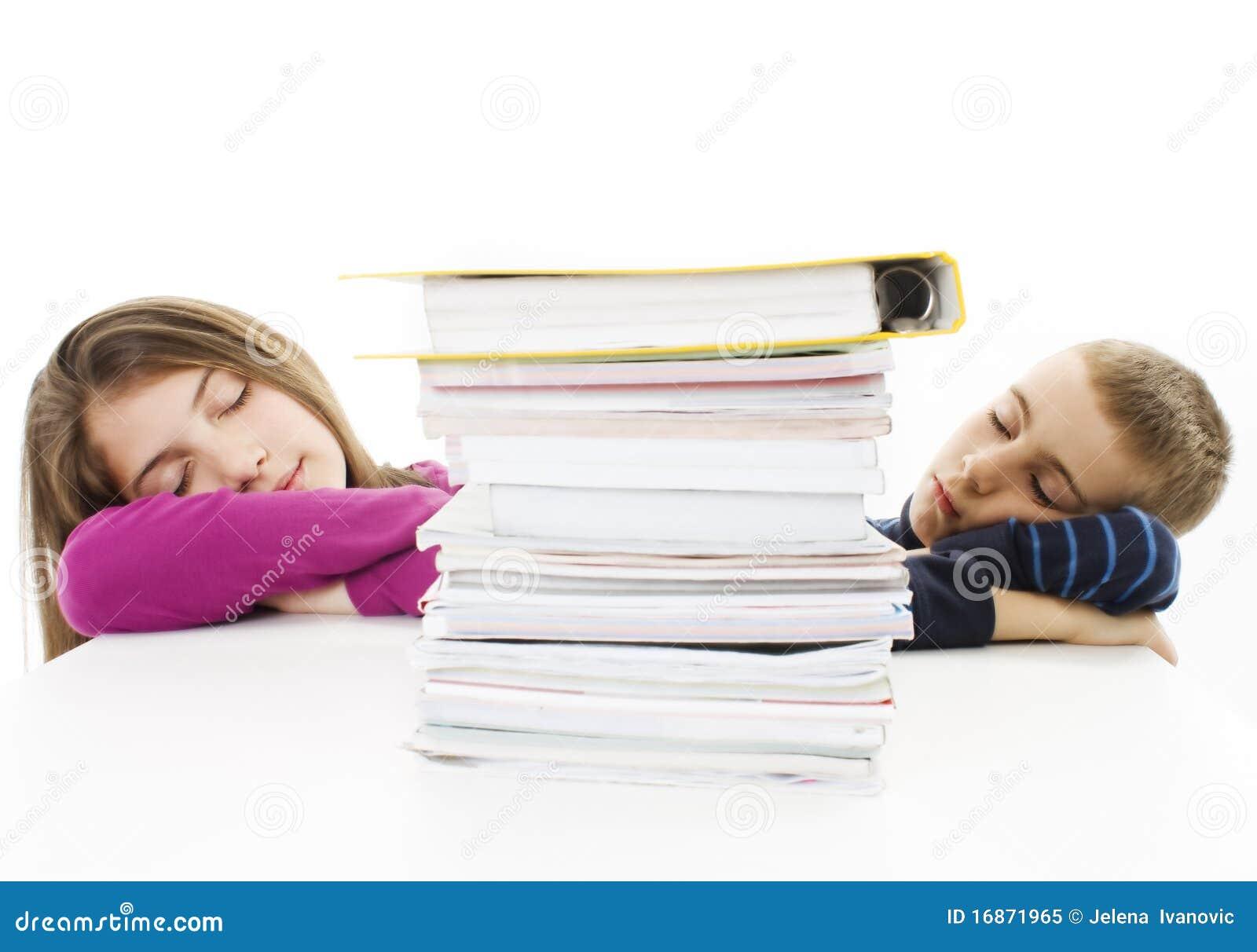 Tired young boy and teenage girl
