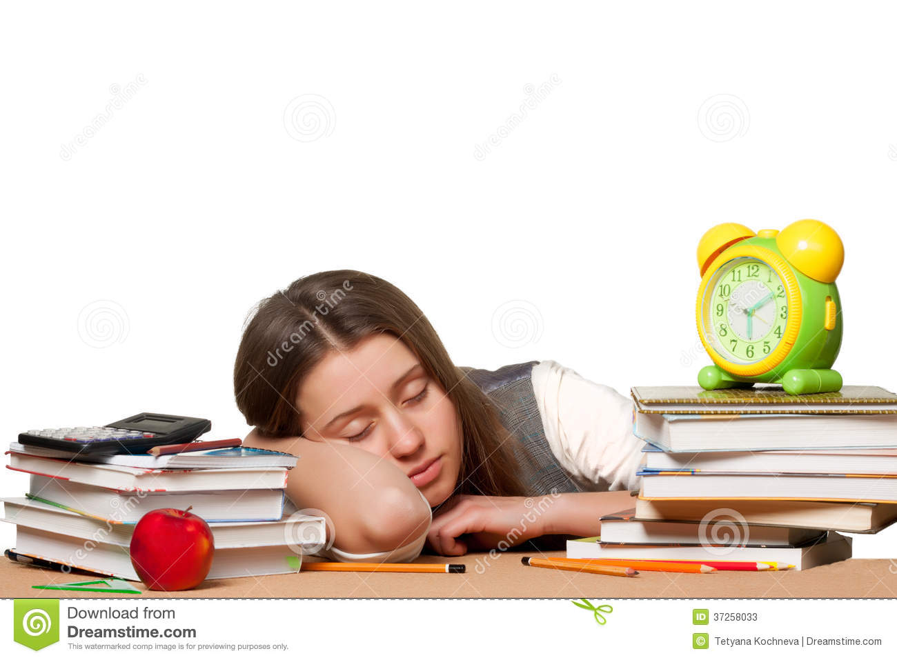 Tired Girl Sleeping Royalty Free Stock Photo