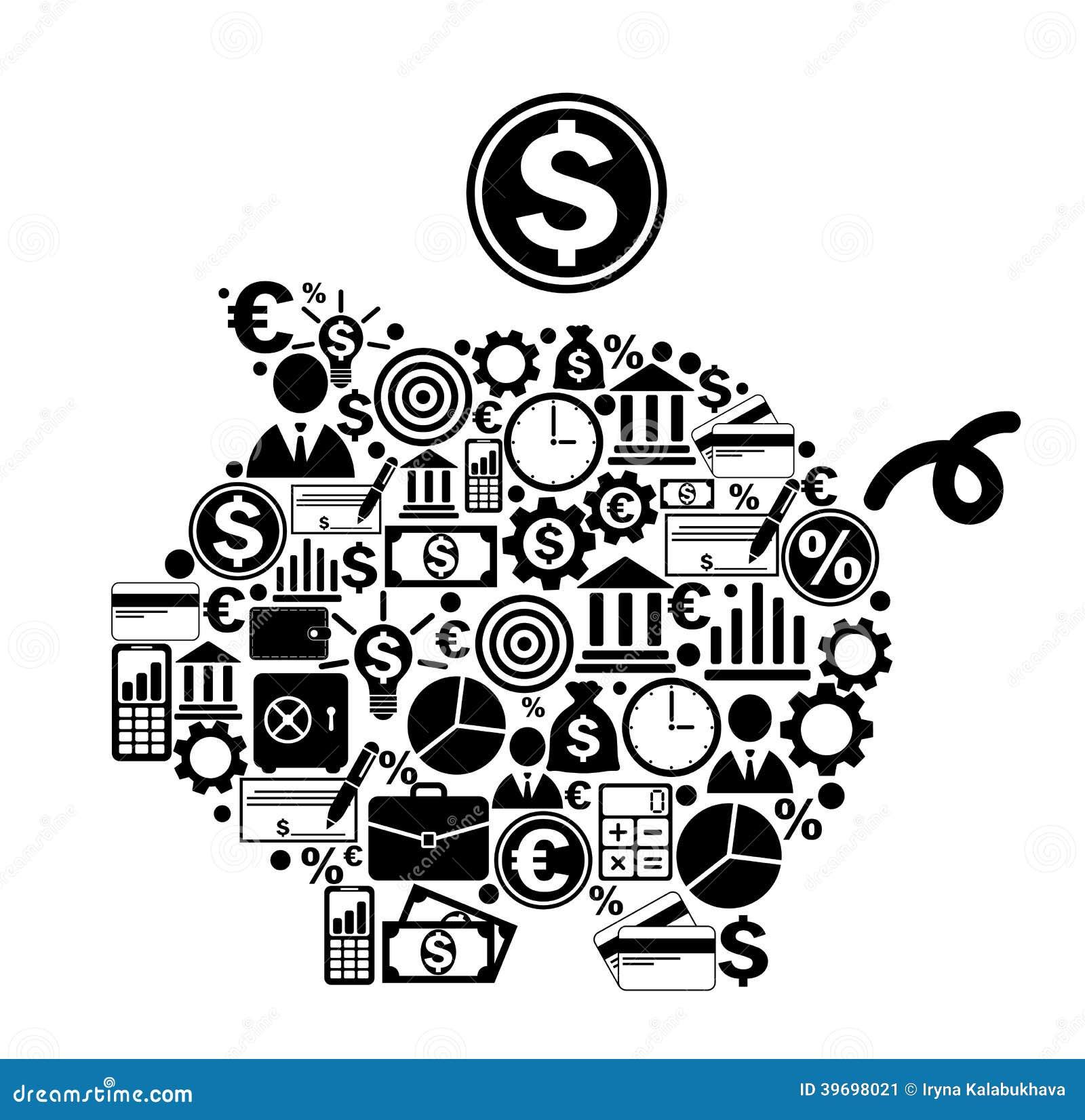 Tirelire avec des icônes d argent et de finances